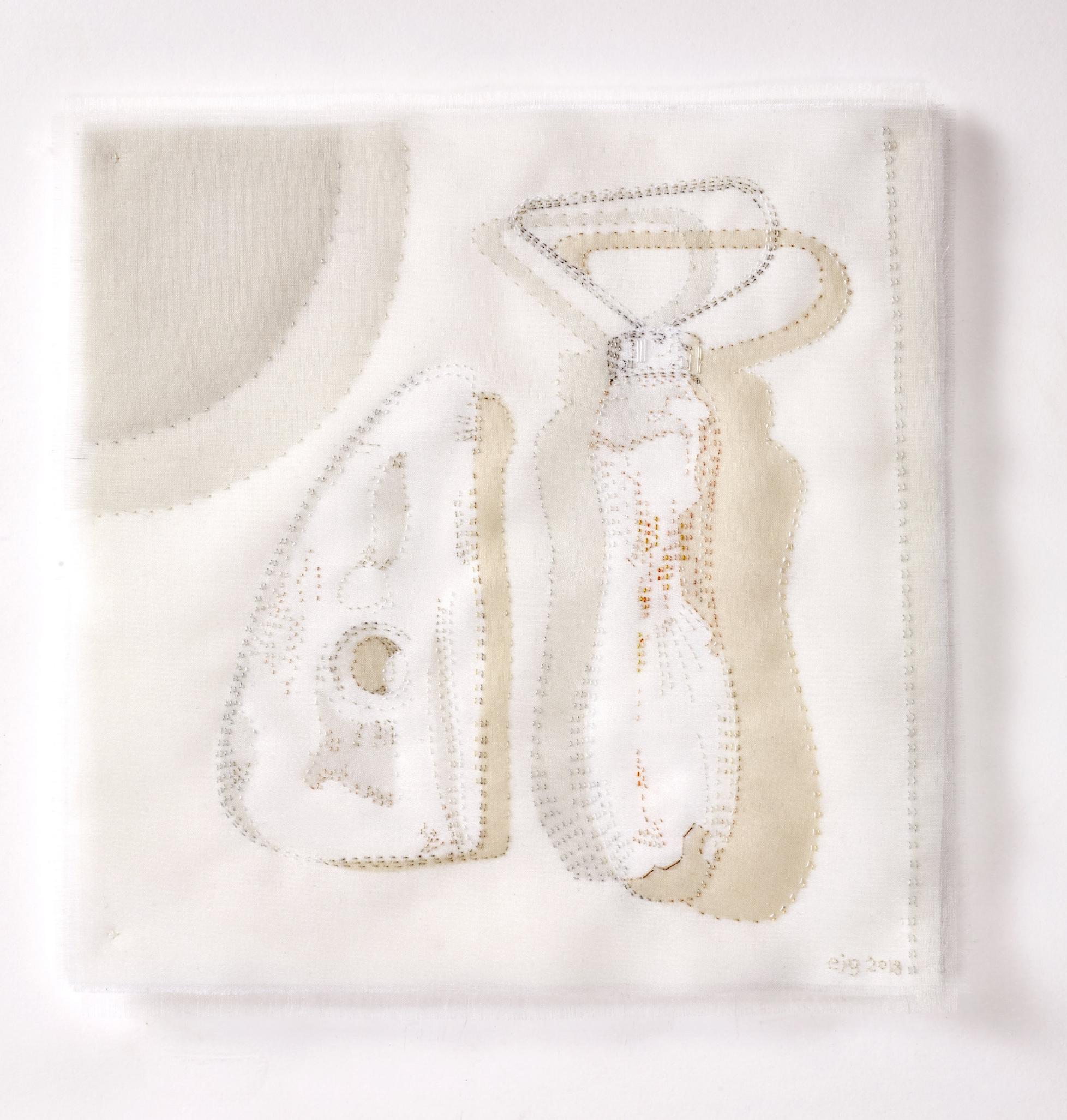 Portrait of a Potter 2018, 23cm x 23cm, hand stitched silk organza appliqué on linen SOLD