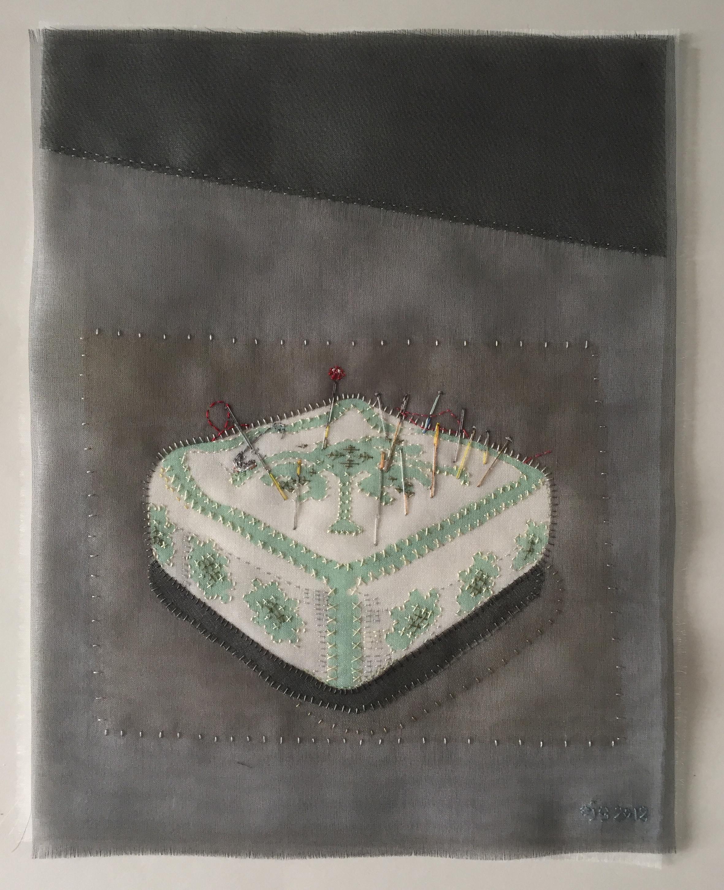 Green pincushion - Silk organza applique on linen, hand stitched £1300