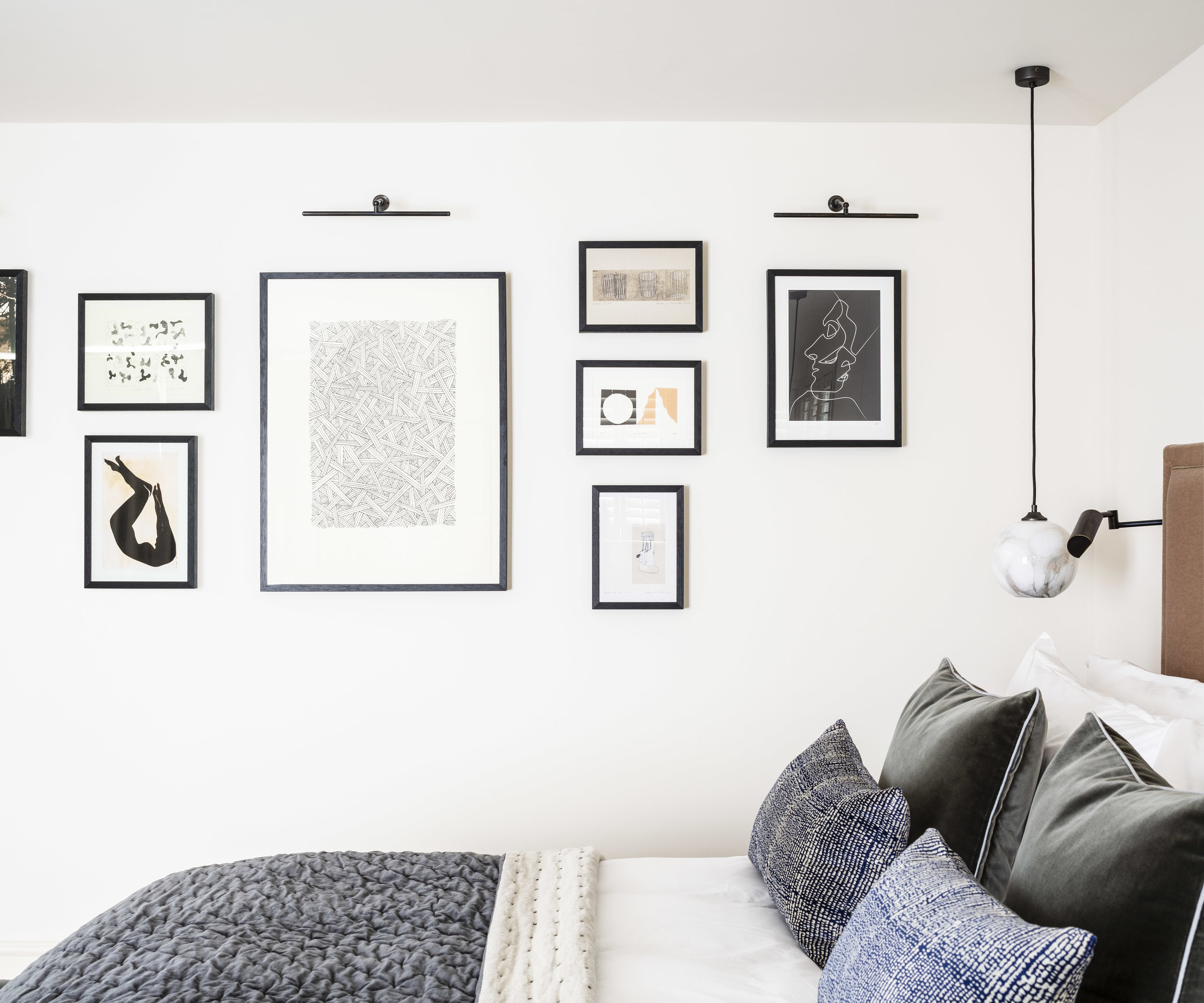 Private Residence | Hampstead   Bedroom Cluster Wall - Works on Paper      Interior Design: Article Design Studio