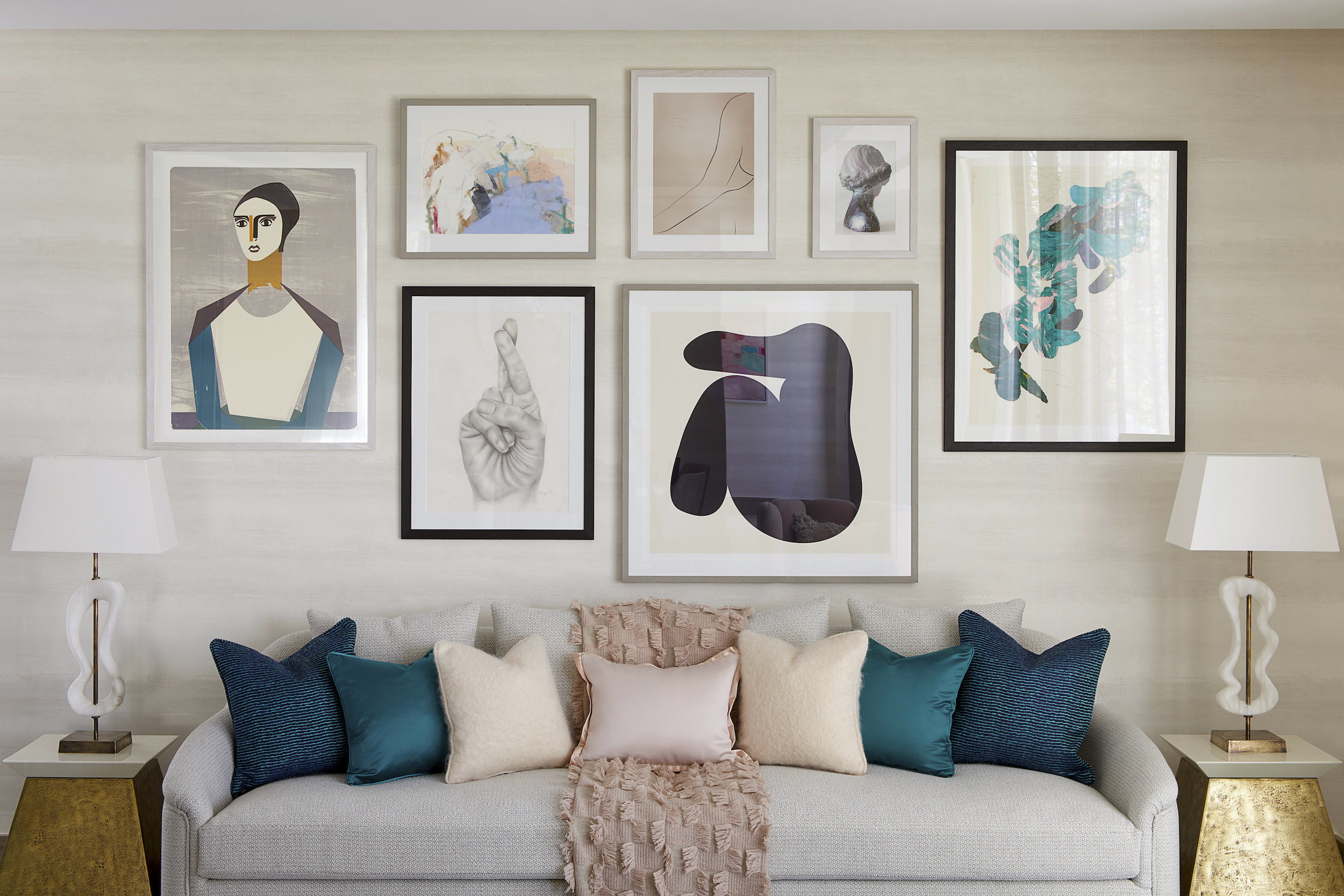 Chiltern Place | Marylebone   Living Room Cluster Wall - Collage, Oil Pastel, Screenprints, Photography, and Drawings on Paper      Interior Design: Elicyon  Developer: Ronson Capital Partners