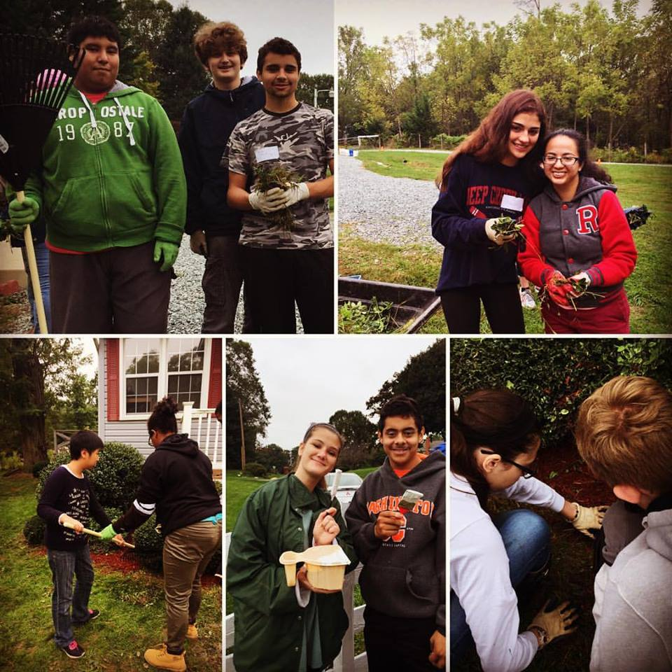 McLean students team up with students with special needs from Rockville High School to beautify Oasis Farm.