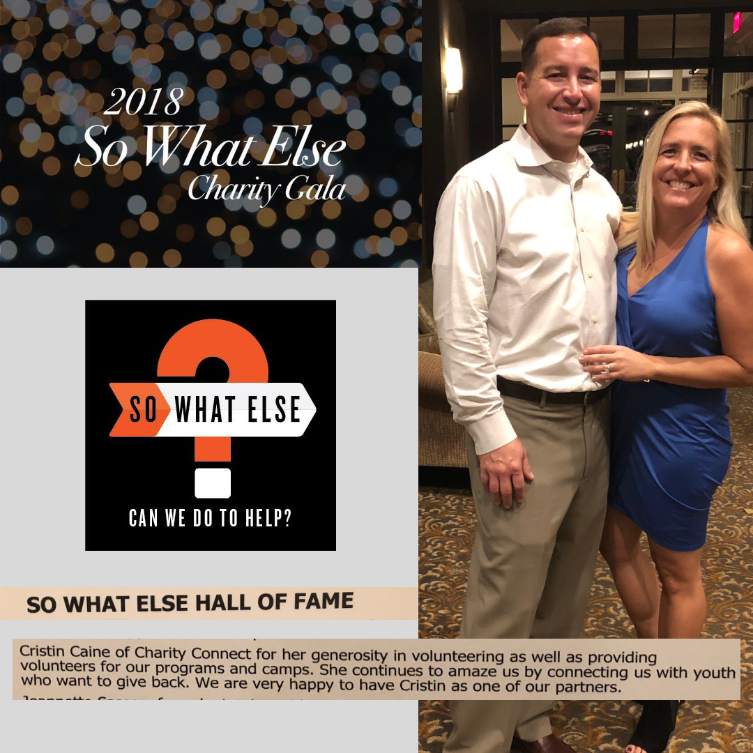 So What Else - We are so honored to have our founder and CEO, Cristin Caine, (shown here with her husband Brian), be given such an awesome shout out from So What Else. Charity Connect and So What Else have had a strong partnership for over two years and the impact they are both making on the community is powerful! Way to go Cristin!