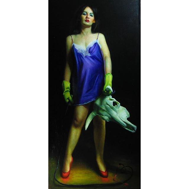 """""""Woman Fighting Bull""""  Rose Freymuth Frazier  Oil on Linen  78 x 40 inches  Framed  Part of an exclusive collection of work by Rose Freymuth-Frazier available exclusively online at www.afanyc.com as part of our Artist's Initiative [link in bio] or inquire to info[at]afanyc.com  """