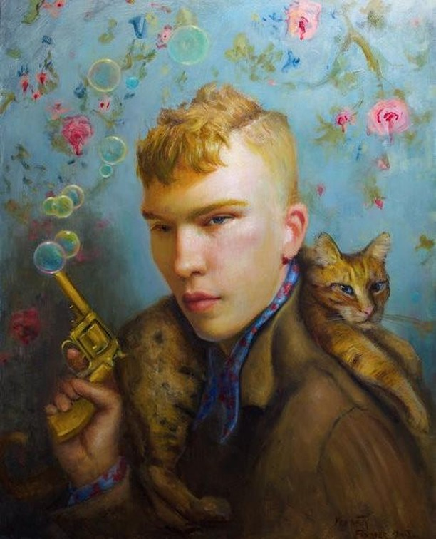 """""""Small Game Hunter""""  Rose Freymuth-Frazier  2018  16 x 20 inches  Oil on Panel  Framed  Available exclusively as part of AFA's Artist's Initiative. Learn more on our website [link in bio] or inquire to info[at]afanyc.com."""