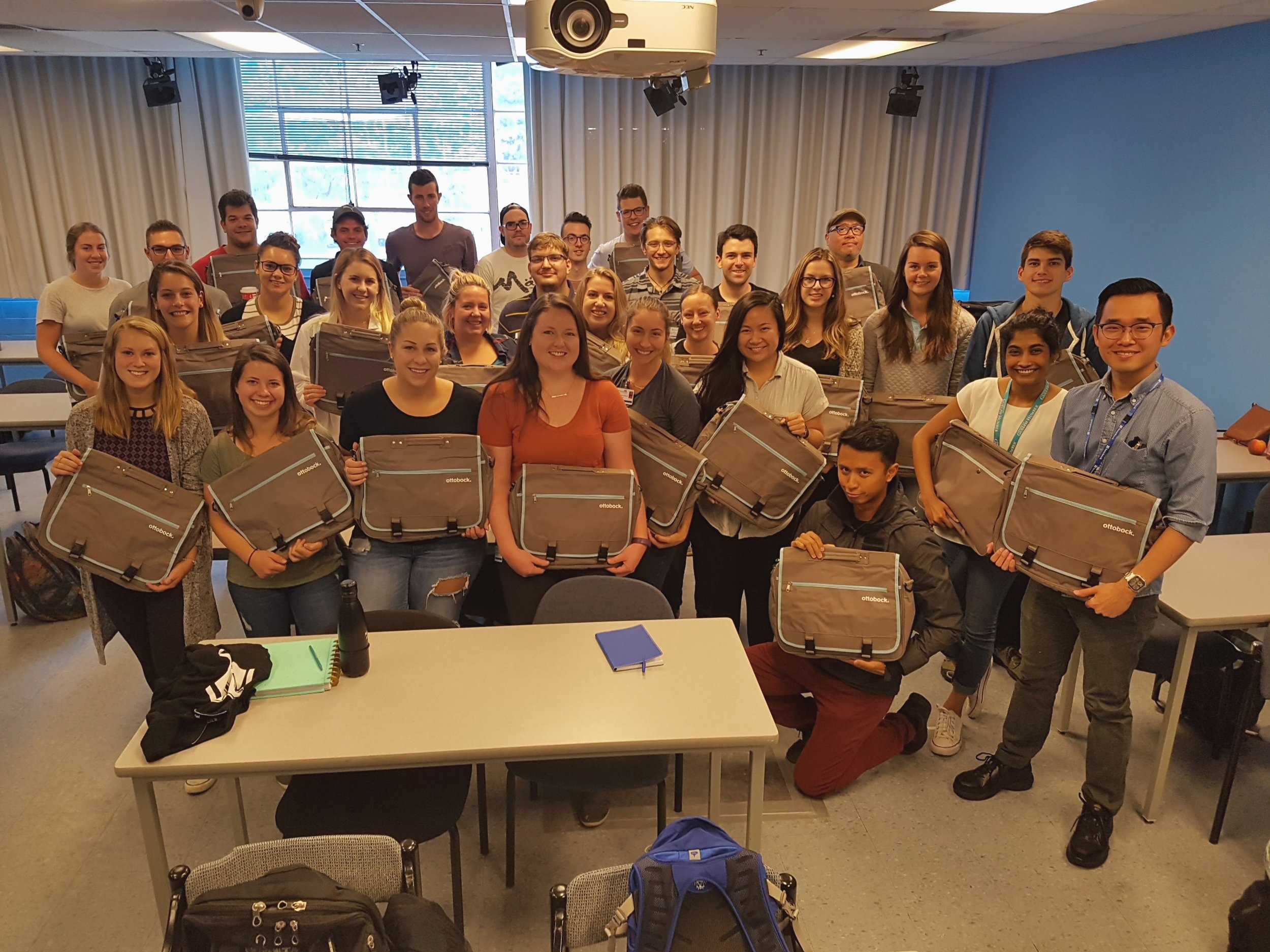 Orientation Session at Sunnybrook!  The incoming class is ready to get in the lab and start working, with the help of Ottobock welcome kits filled with some staples!