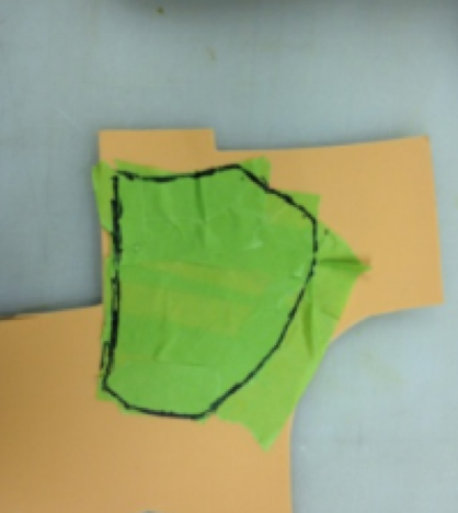 Remove the masking tape in one piece, place flat on the piece of foam that will be used to create the pad.
