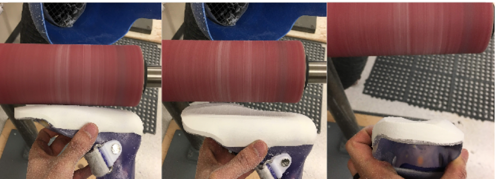 Once foam is secured on device, a good technique in creating the flat surface in all planes is to take the device's plantar surface against a drum or barrel sander. Using the tibia as a reference, grind into the foam and a 90 degree angle and create a ridge or valley in the frontal plane (you will want to go as deep into the foam until you expose the toe plate as much as possible while not taking too much off the heel). Then you will start grinding in the frontal plane to flatten out this valley. Check on a flat surface.