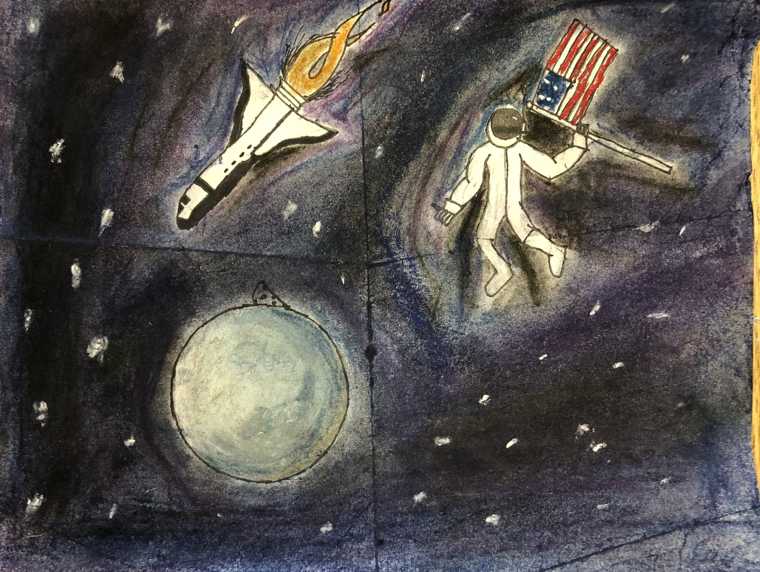 Artwork created by students at Brown Middle School in preparation for an outreach performance on March 1