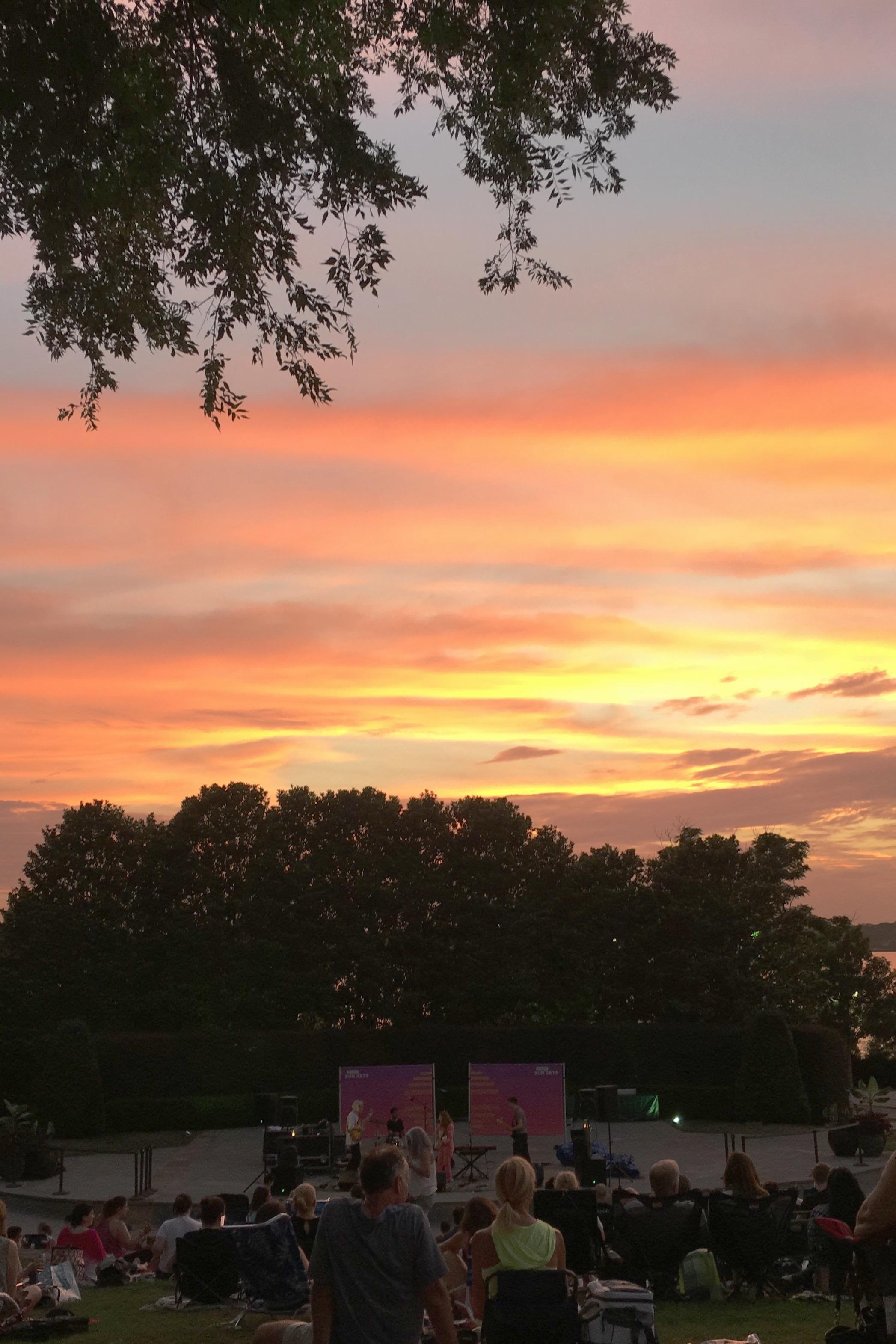 Our view of June Bird's set at the Dallas Arboretum.