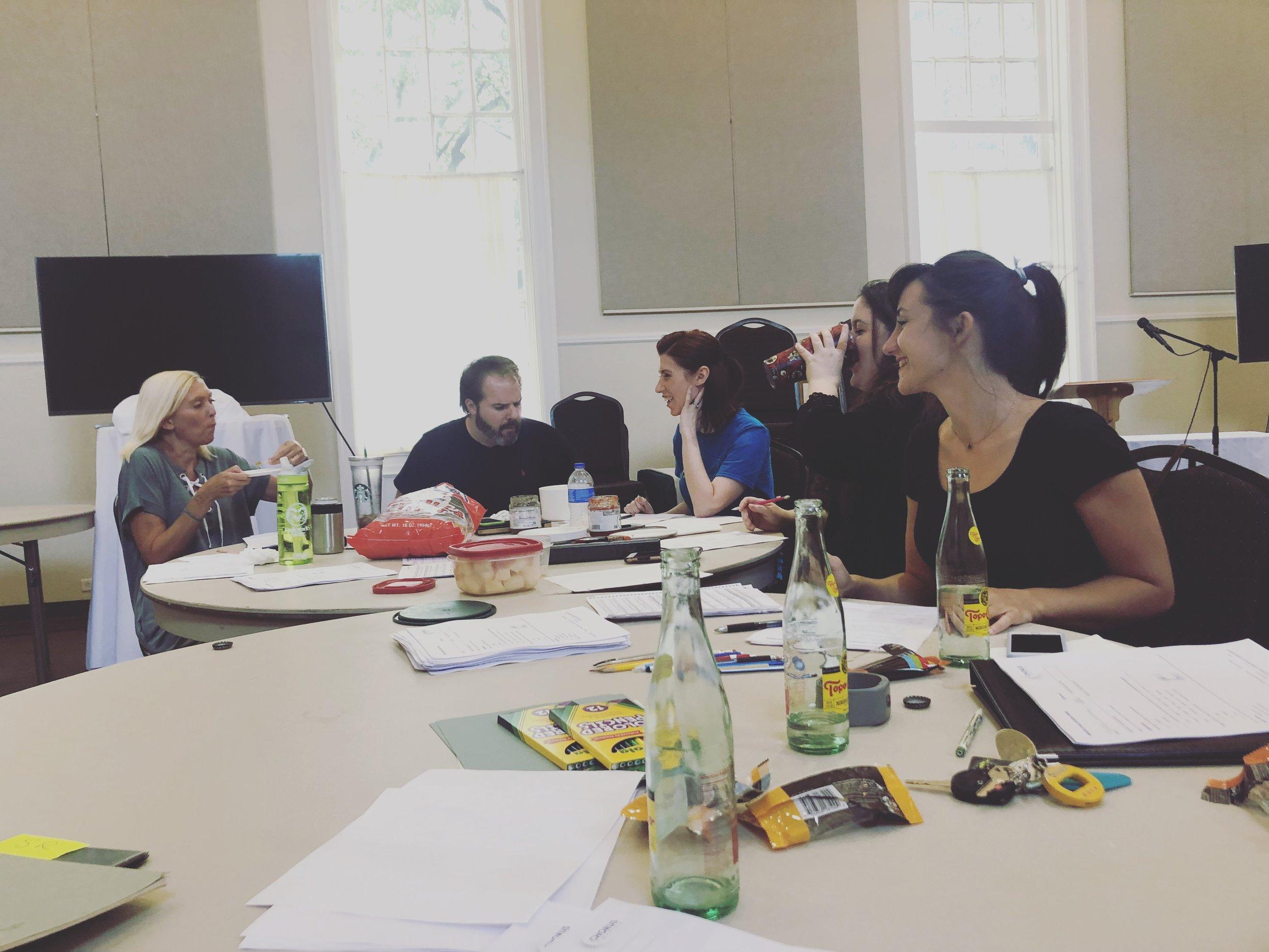 The Verdigris Choir Committee, comprised of current member musicians, taking a break halfway through 2018-19 Verdigris Ensemble season auditions.