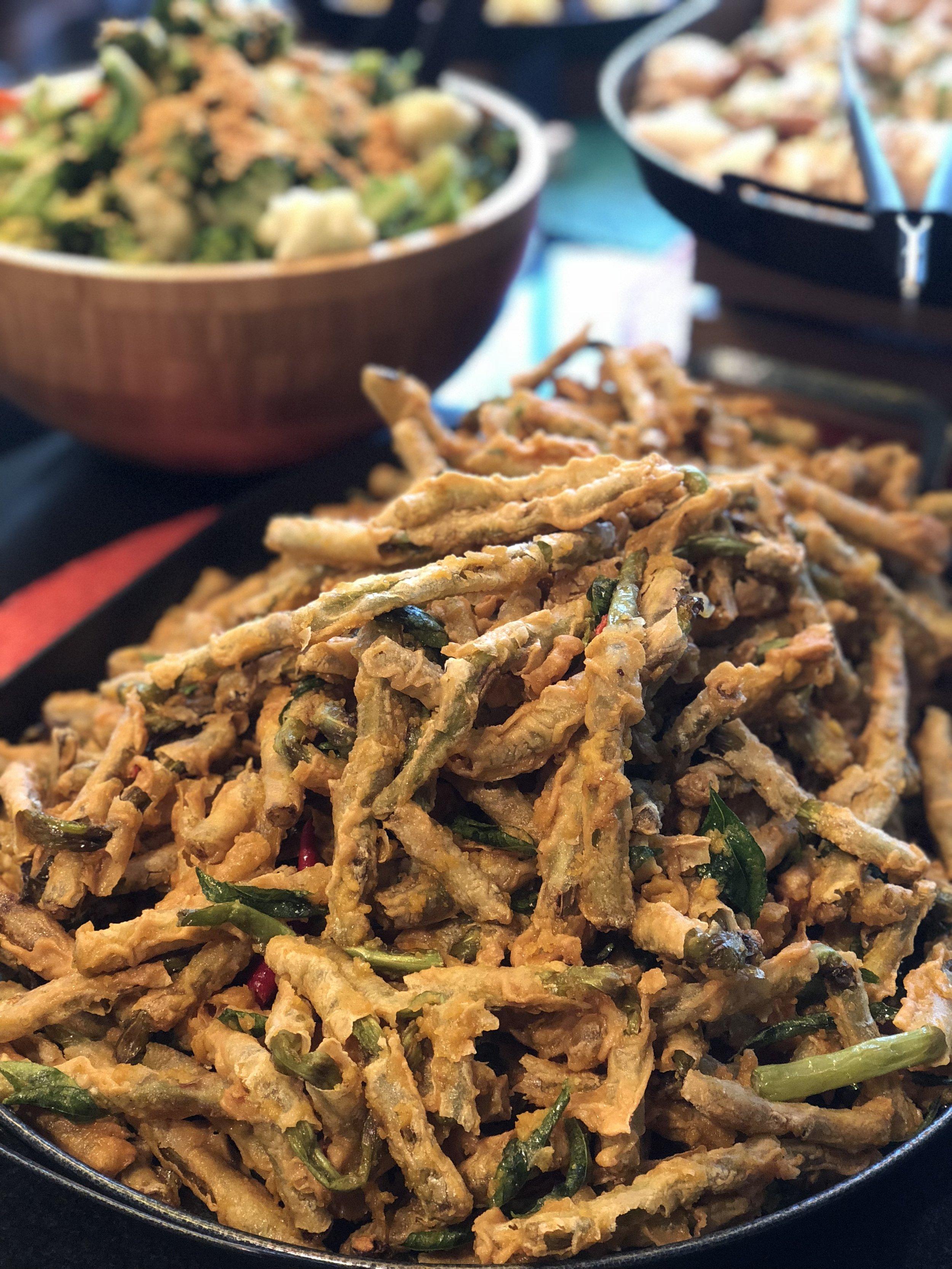 Tempura Organic Yardlong Beans with Crisp Curry Leaves & Chilli Crisp