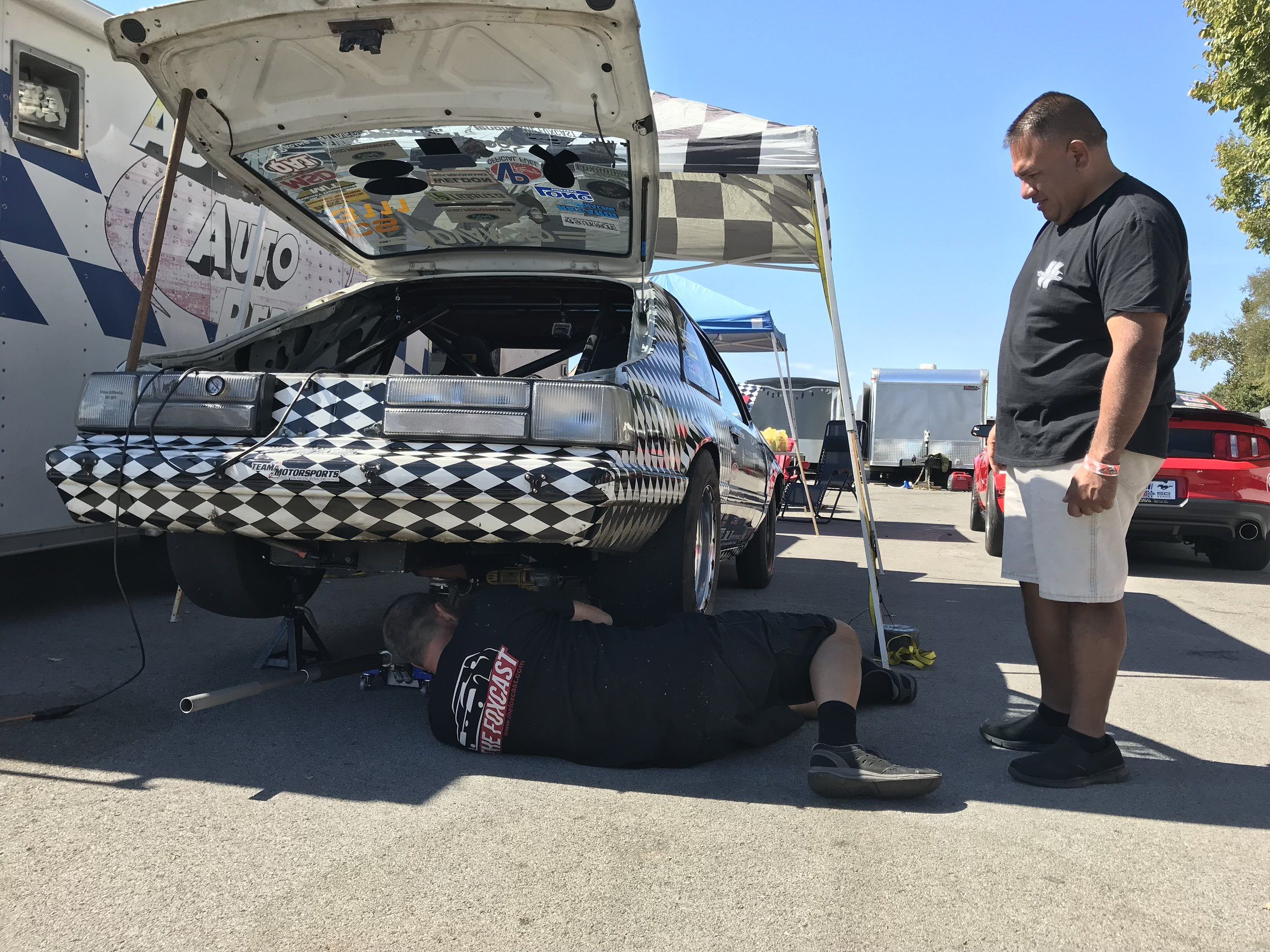 After pulling the trans twice for a bad clutch, and bad flywheel, CS driver Carlos Sobrino also found a blown rear shock.