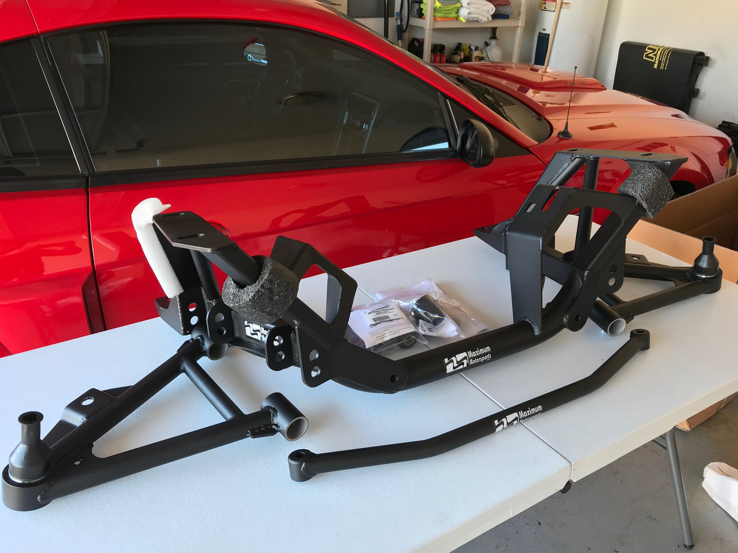 The extra beefy design of the Maximum Motorsports k-member, along with the reduced weight, added rigidity, and extra clearance makes this a win for any Mustang owner.