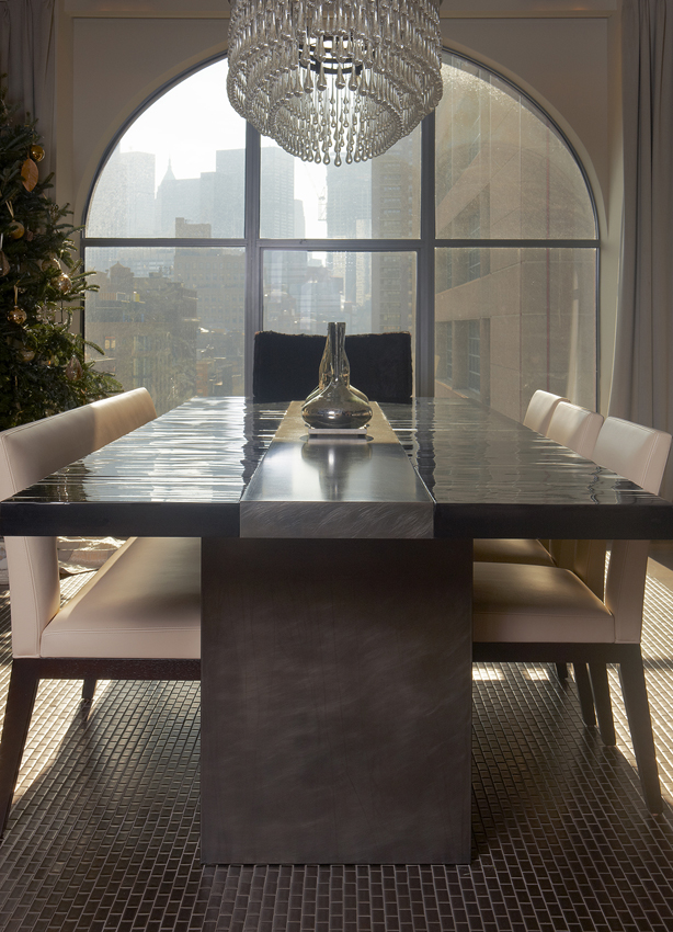 Dining Room by Aguirre Design, Featuring Malta Dining Table - A modern dining Table. Materials: Bamboo Top and Blackened Steel Pedestals.