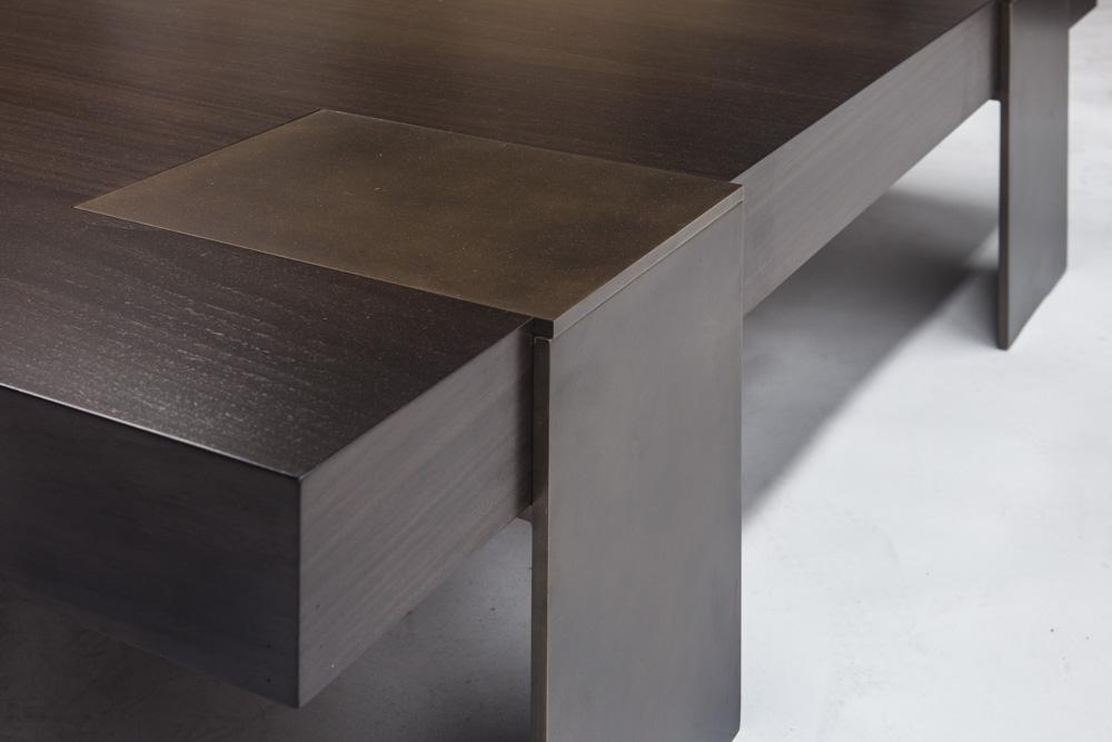 Aguirre Design - Warren Coffee Table - Walnut and Brass