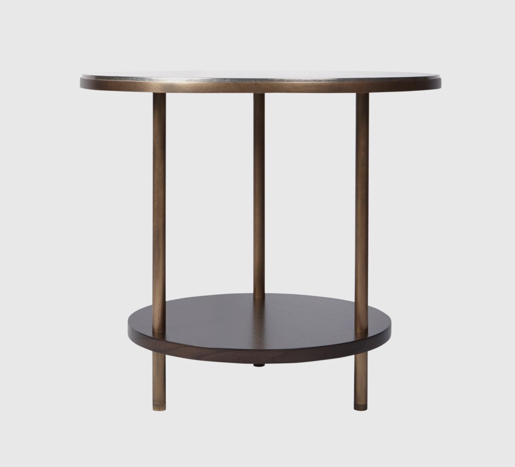 Aguirre Design - Round Osaka Side Table - Silver leaf, Walnut and brass