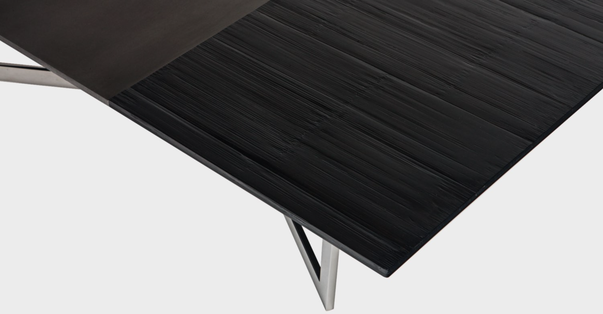 Aguirre Design - Madison Coffee Table - Bamboo, Blackened Steel and Polished Stainless Steel