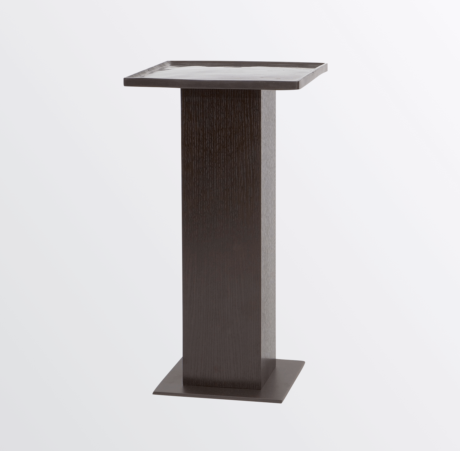 Aguirre Design - Cast Bronze, Oak and Brass Side Table
