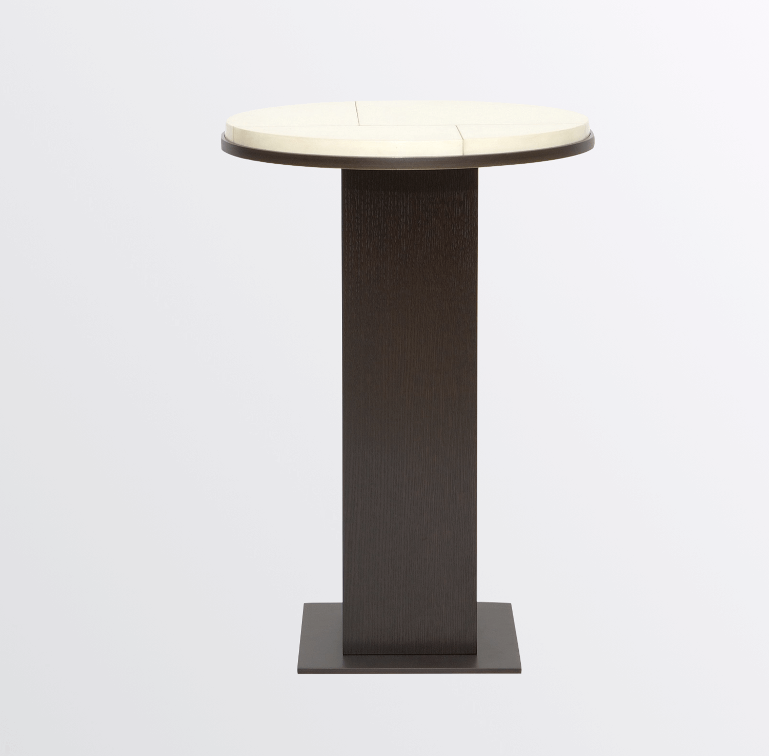 Aguirre Design - Round Parchment Side Table with Brass and Oak Pedestal