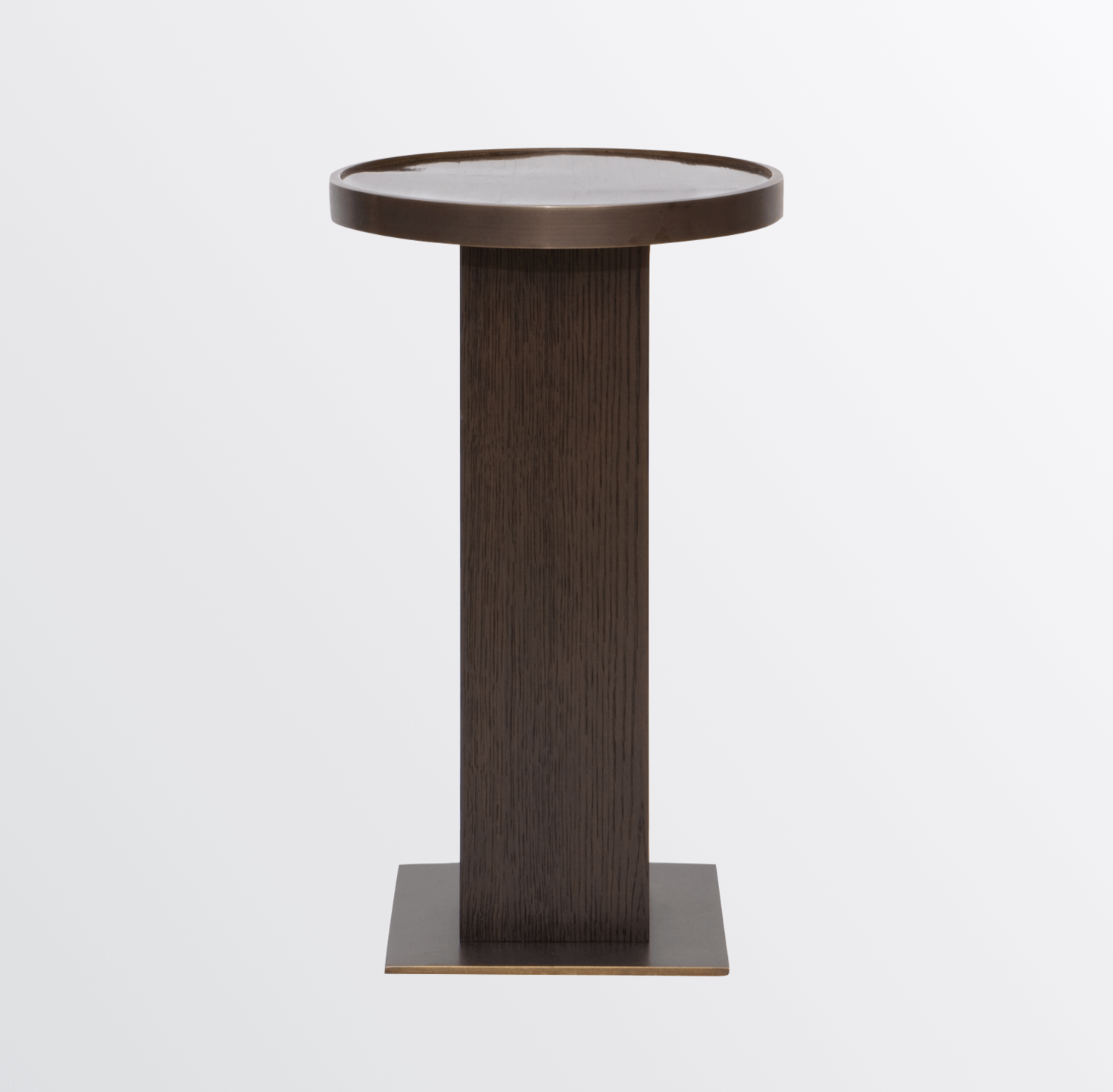 Aguirre Design - Bamboo, Brass and Oak Round Side Table