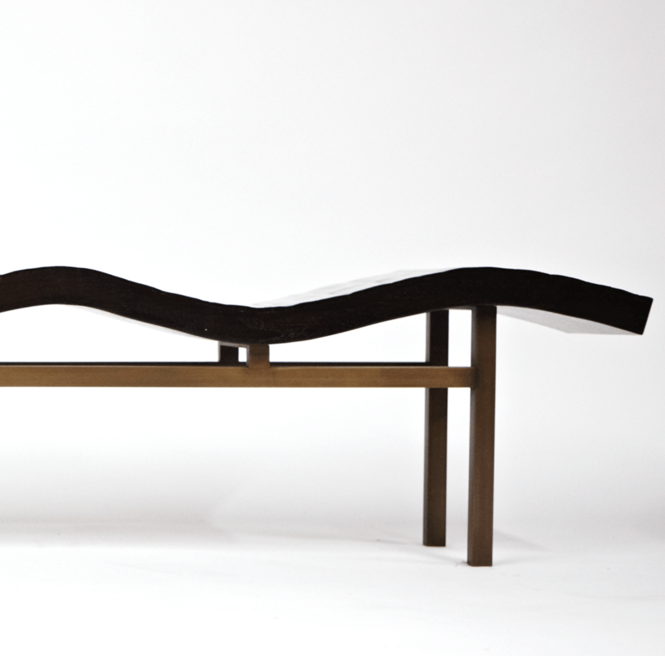 Aguirre Design - Bamboo and Brass Wave Bench