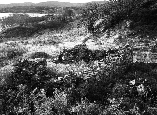 These pictures were made at or near Bailetonach, a settlement on Eilean Shona abandoned during the potato blight in the middle of the 1800′s. I used a medium format camera and black and white film.   Frank McElhinney