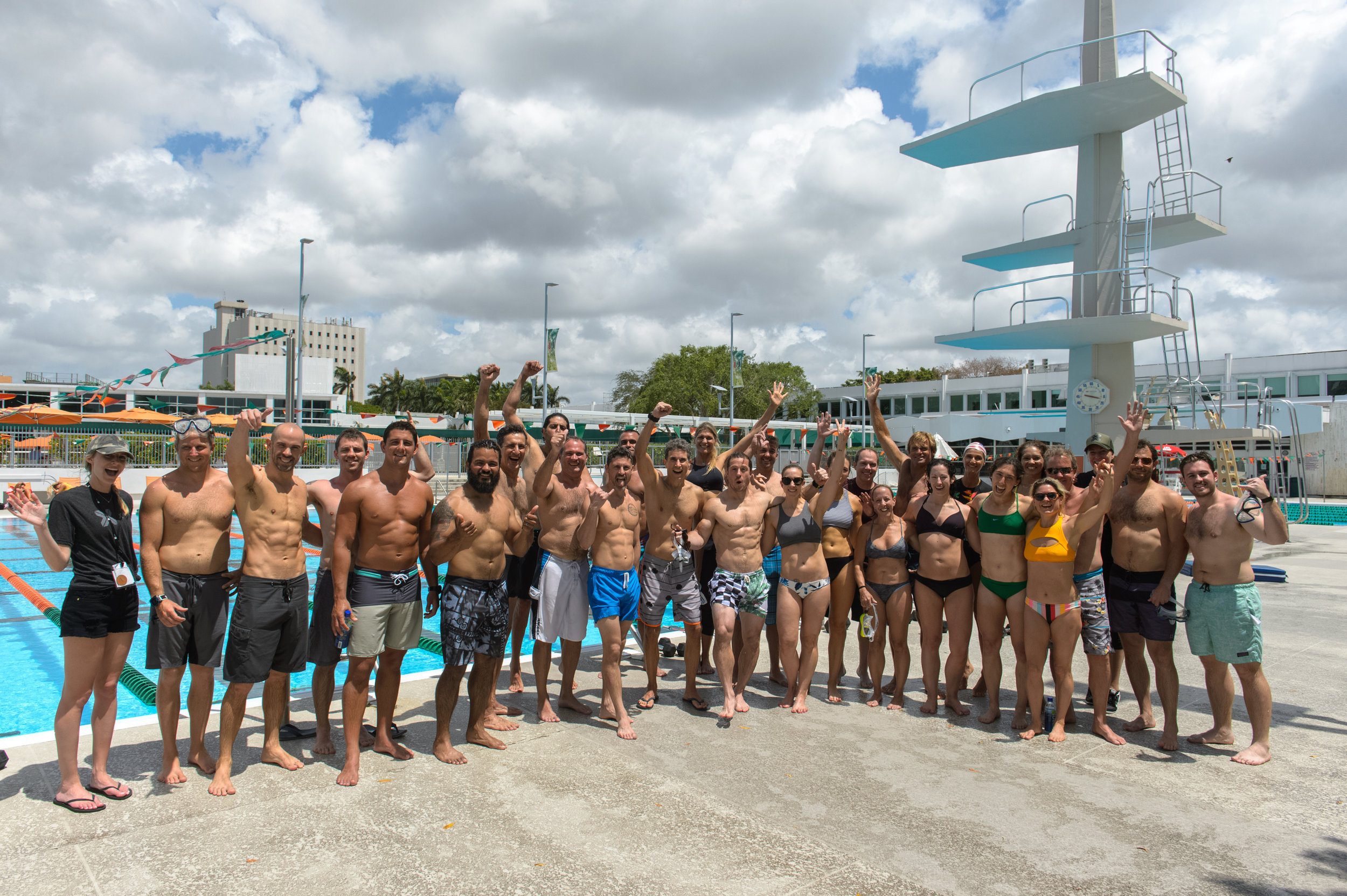 The entire group during our pool training at the University of Miami.