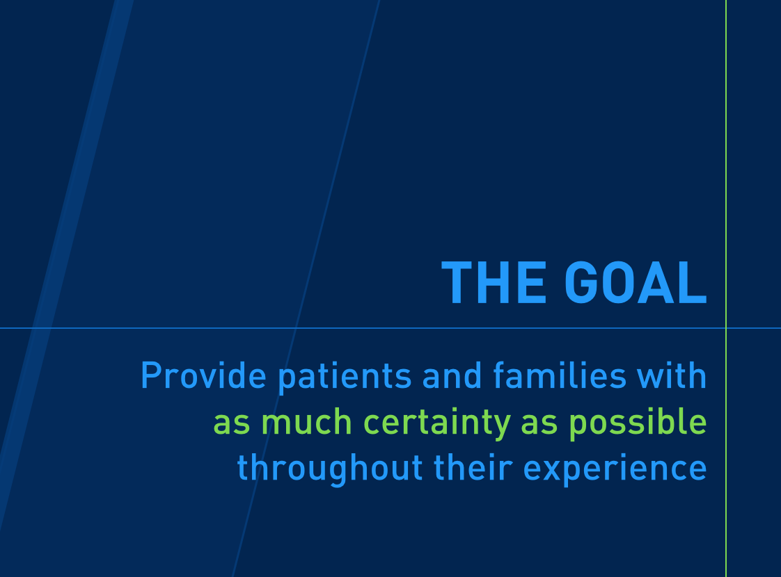 This is the heart of the presentation, the foundational goal of the Patient Experience initiative.