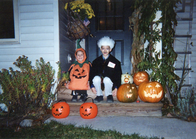 Our little Einstein and his pumpkin-headed brother, ca 2001.