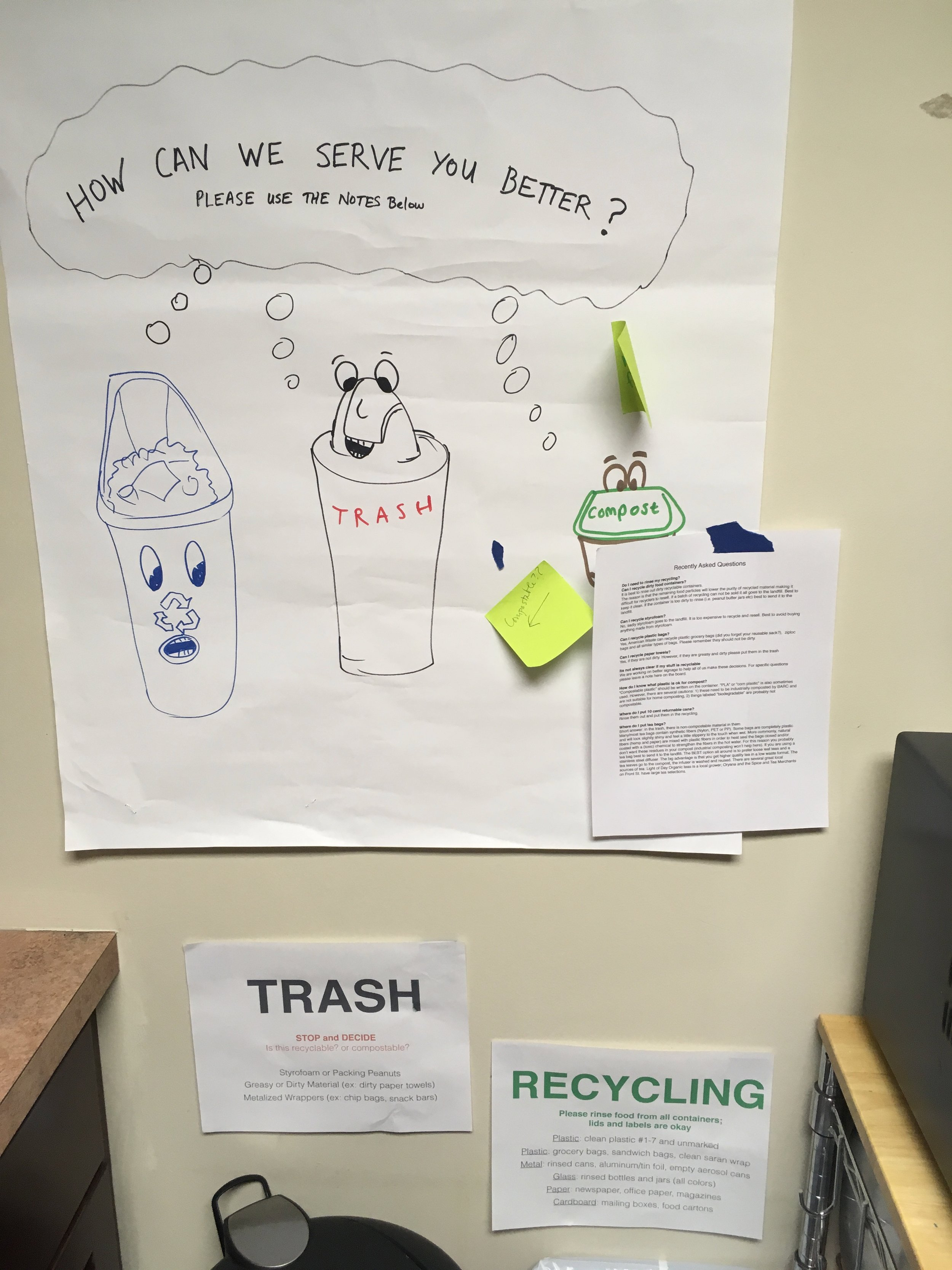 Efforts to educate co-workers in the kitchen where we hold our workshop sessions