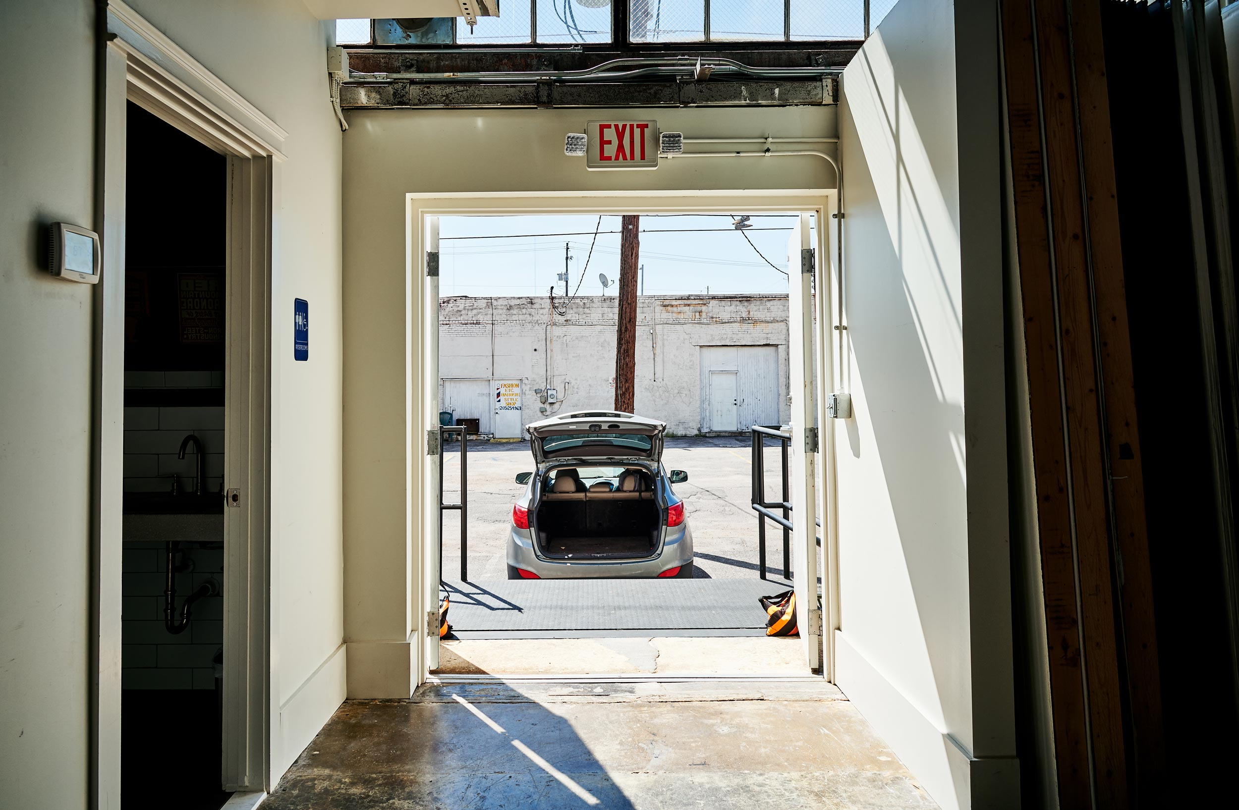 Load in - Studio 104 has a 6 foot loading dock accessible through the alley way behind the studio that opens directly into the shooting space. Loading in and out is quick and easy!