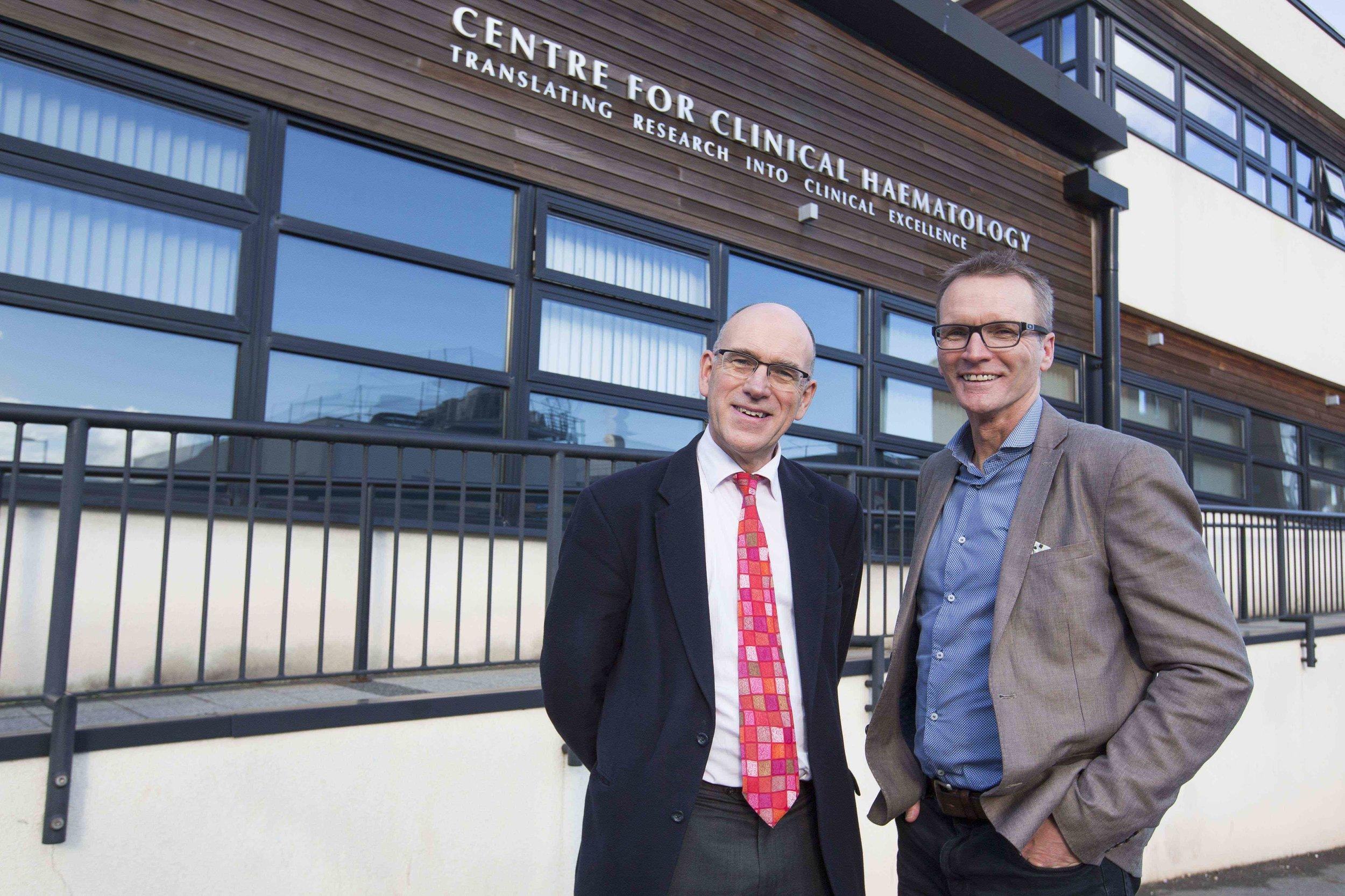 Professor Charlie Craddock CBE (left) and Geoff Thomas (right)