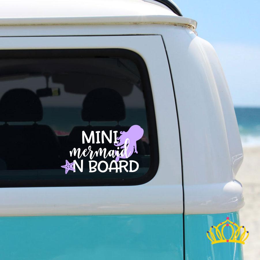Mini Mermaid On Board Vinyl Decal