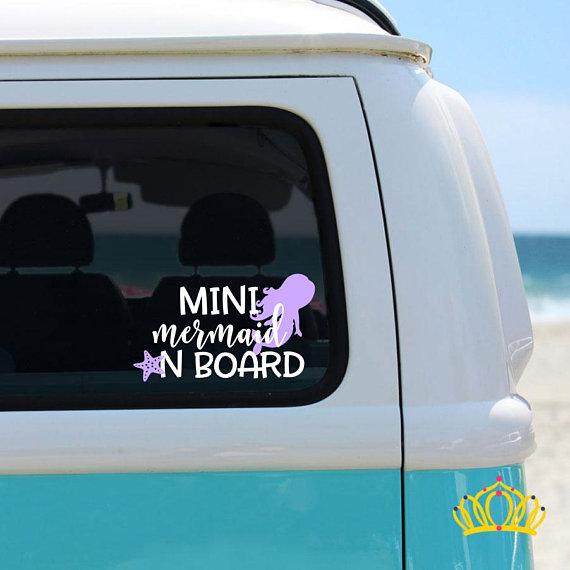 Mini Mermaid on Board Decal