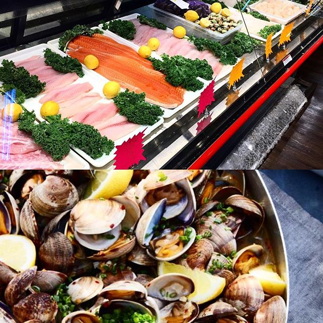 Have you checked out our fresh #SeafoodDepartment yet?? Delicious sales are here. #Swordfish Steaks $10.99 Lb Special  Fresh Top Neck Clams. $4.99 dz Try this Steamed #Clams with #garlic recipe!  2 tablespoons butter 2 tablespoon olive oil 3 cloves fresh garlic, finely chopped 2 shallots, finely chopped 1 tablespoon red pepper flakes 1 cup dry white wine  4-5 pounds of clams (Littlenecks or Manilla), scrubbed, rinsed and cleaned 3 tablespoons fresh chives, finely chopped 2 lemons Grilled baguette for serving  1. Combine the butter and olive oil in a large shallow skillet over medium heat. Add the garlic, shallots and the red pepper flakes and cook for 2-3 minutes until garlic is fragrant but not burned. 2. Add the wine and increase the heat to medium-high to bring the wine to a simmer. 3. Add the clams, cover with the lid and cook for 5-7 minutes, stirring occasionally, until clams have opened. Discard any clams that are still closed. Add the chives and juice from 1 lemon and give the pot a quick stir. 4. Transfer the clams and the cooking liquid to a large serving bowl and serve with pieces of toasted bread to soak up the cooking liquid and extra lemons on the side.