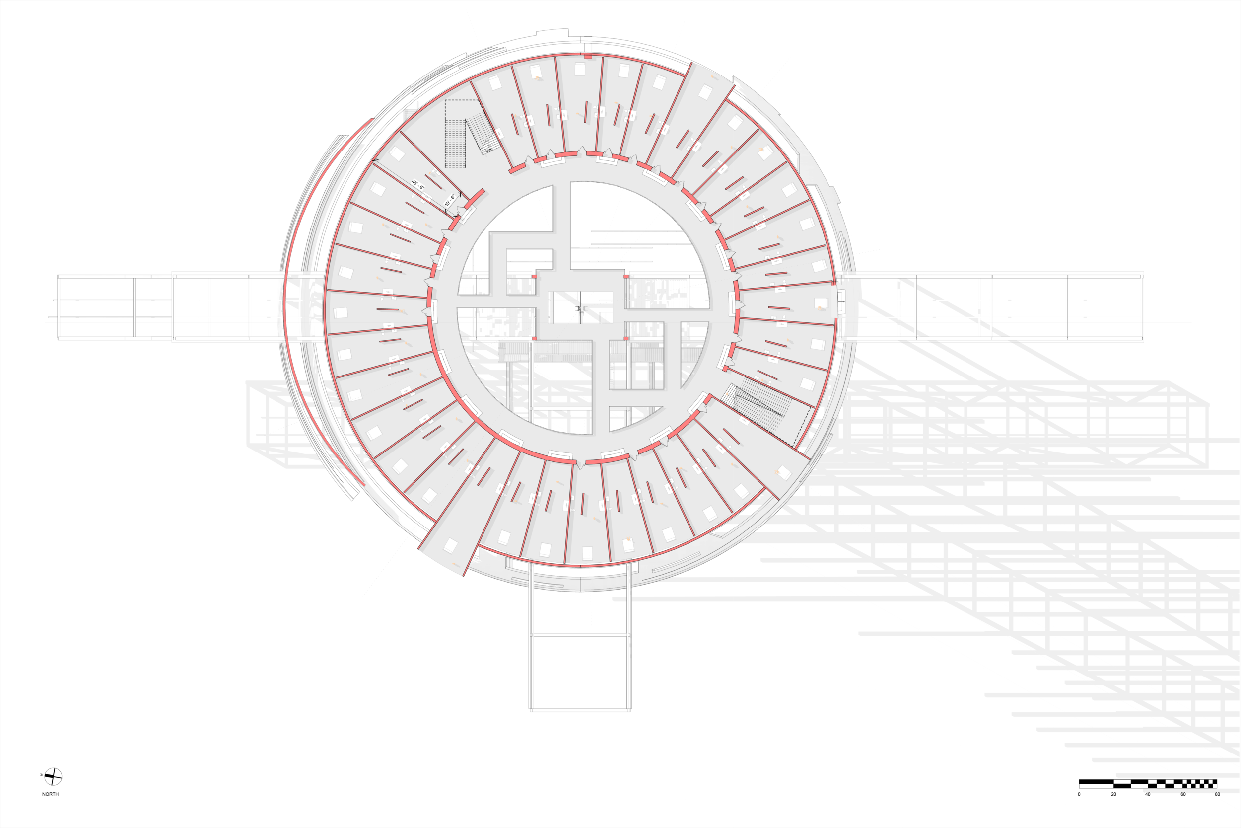 """PANOPTICON FLOOR PLAN - SCALE : 1/16"""" = 1' - 0""""  Circular prison with cells arranged around a central well, from which prisoners could at all times be observed."""