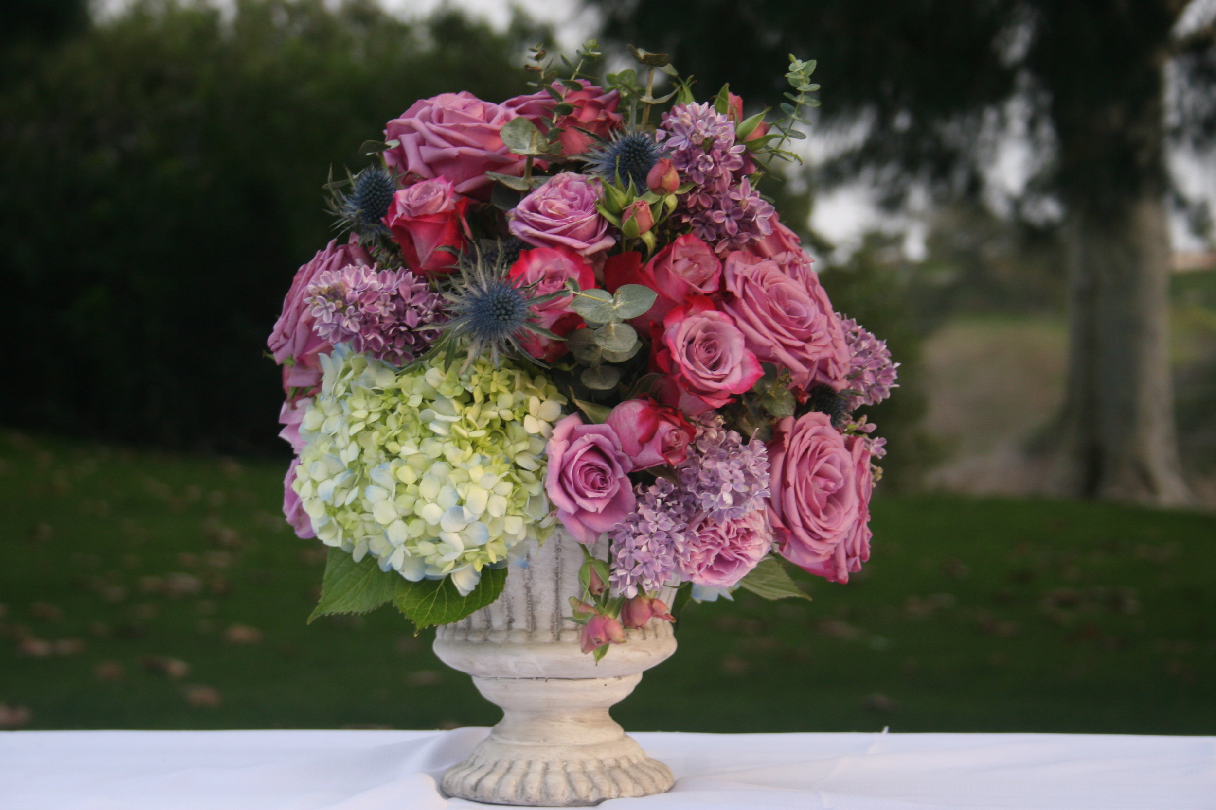 Roses, Hydrangea, Lilac, Thistle and Eucalyptus