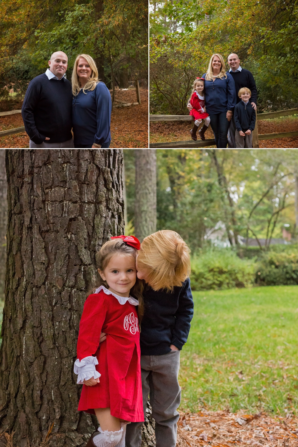Smaller family unit poses among fall foliage during Sanford family photography session.
