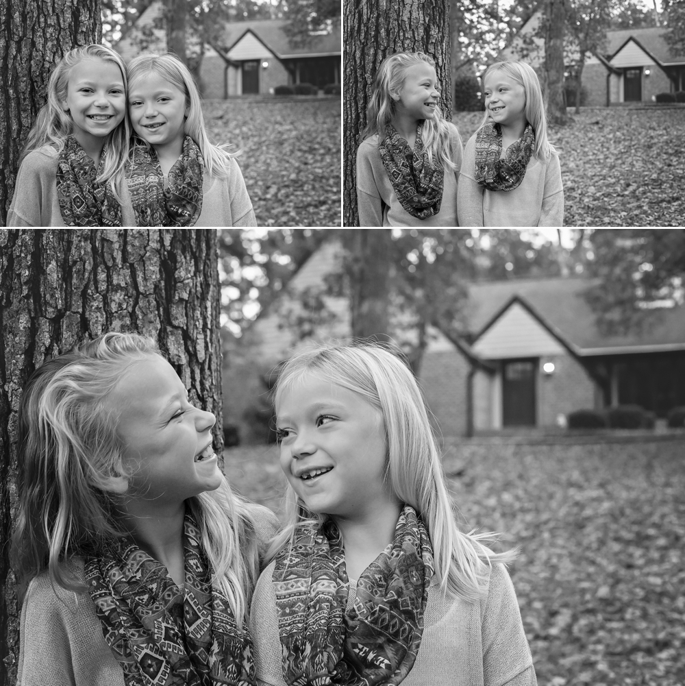 Sisters laugh together as photographed by Candace Wolfenbarger.