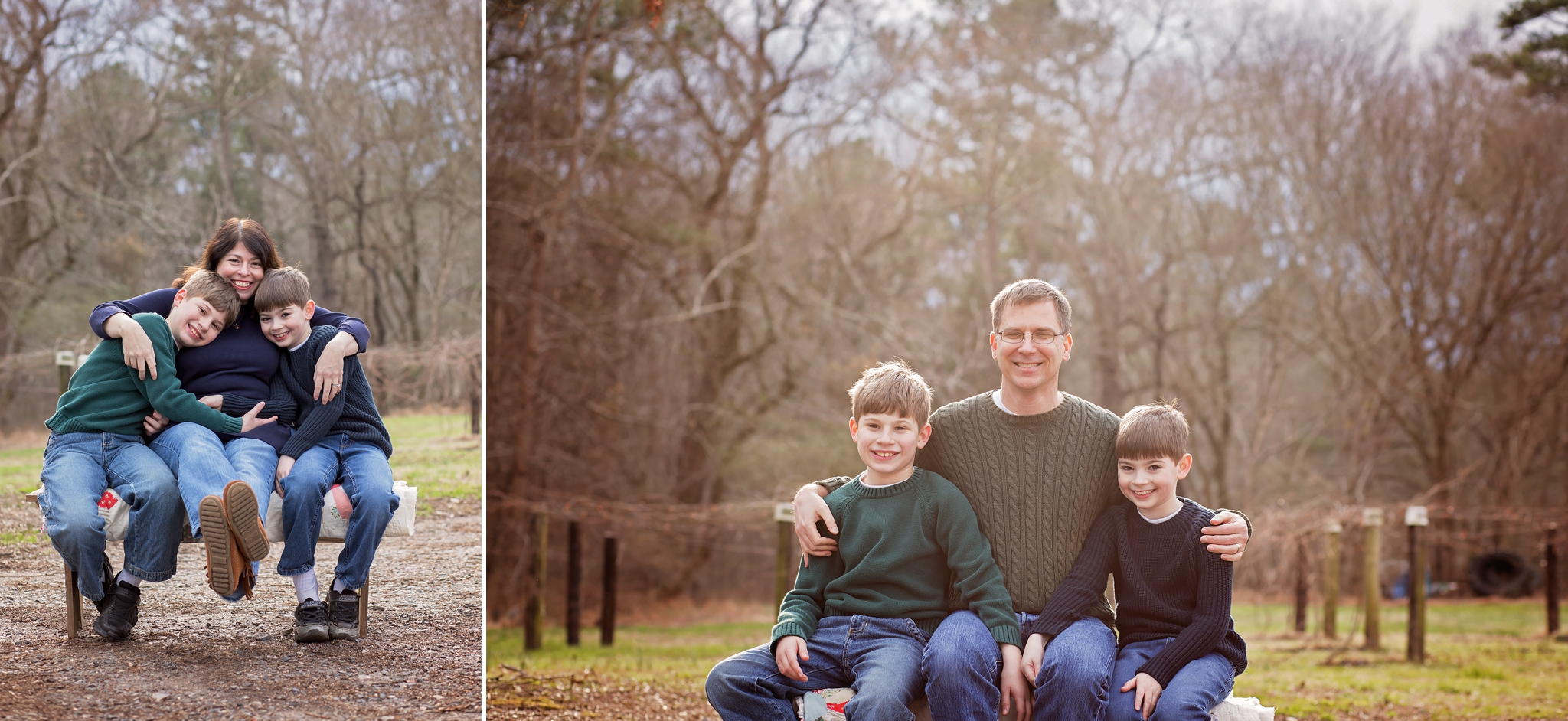 Mother and father both snap photos with sons during family photography session.