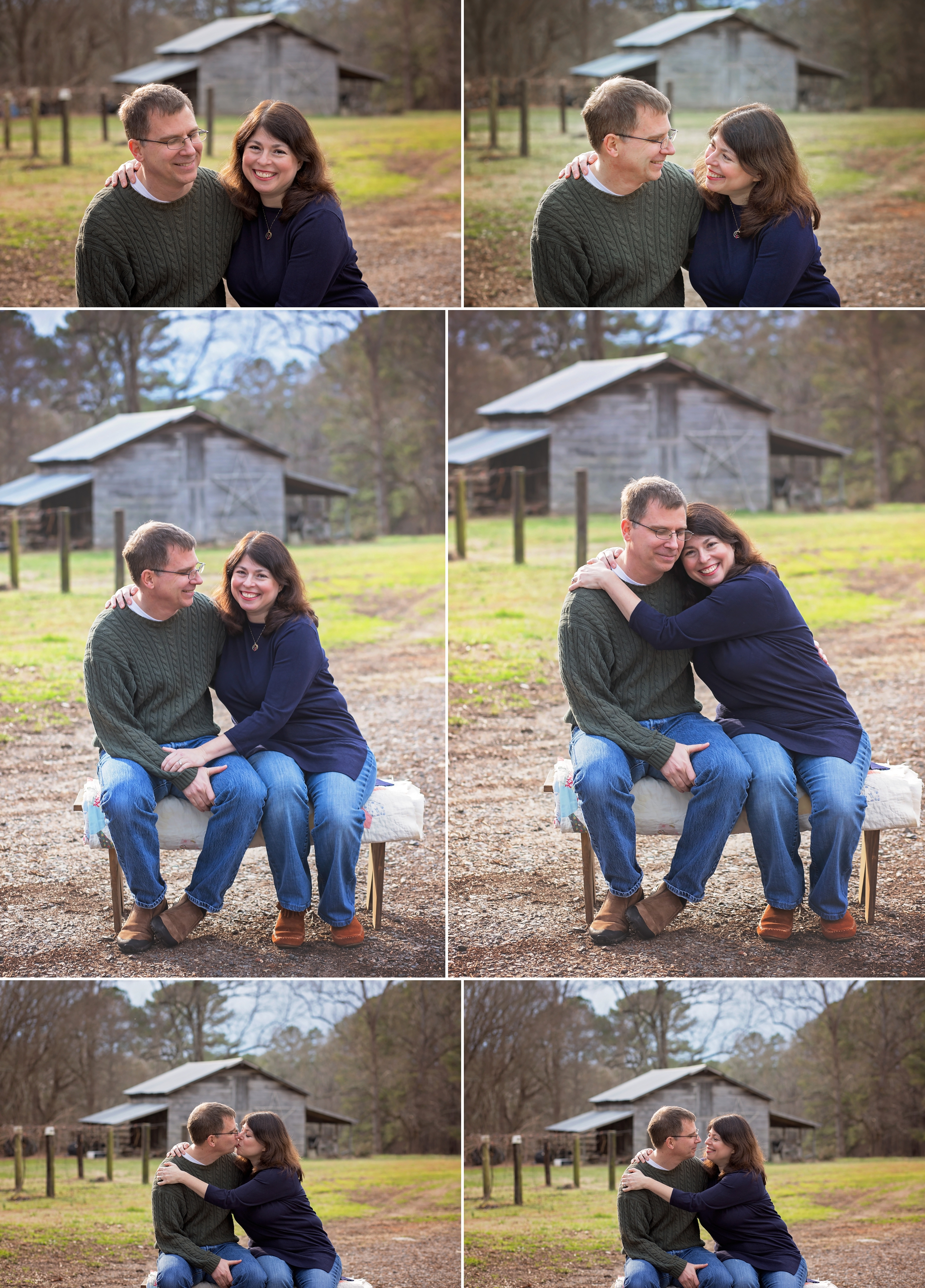 Parents snuggle on picnic table during family photo session in Sanford NC.