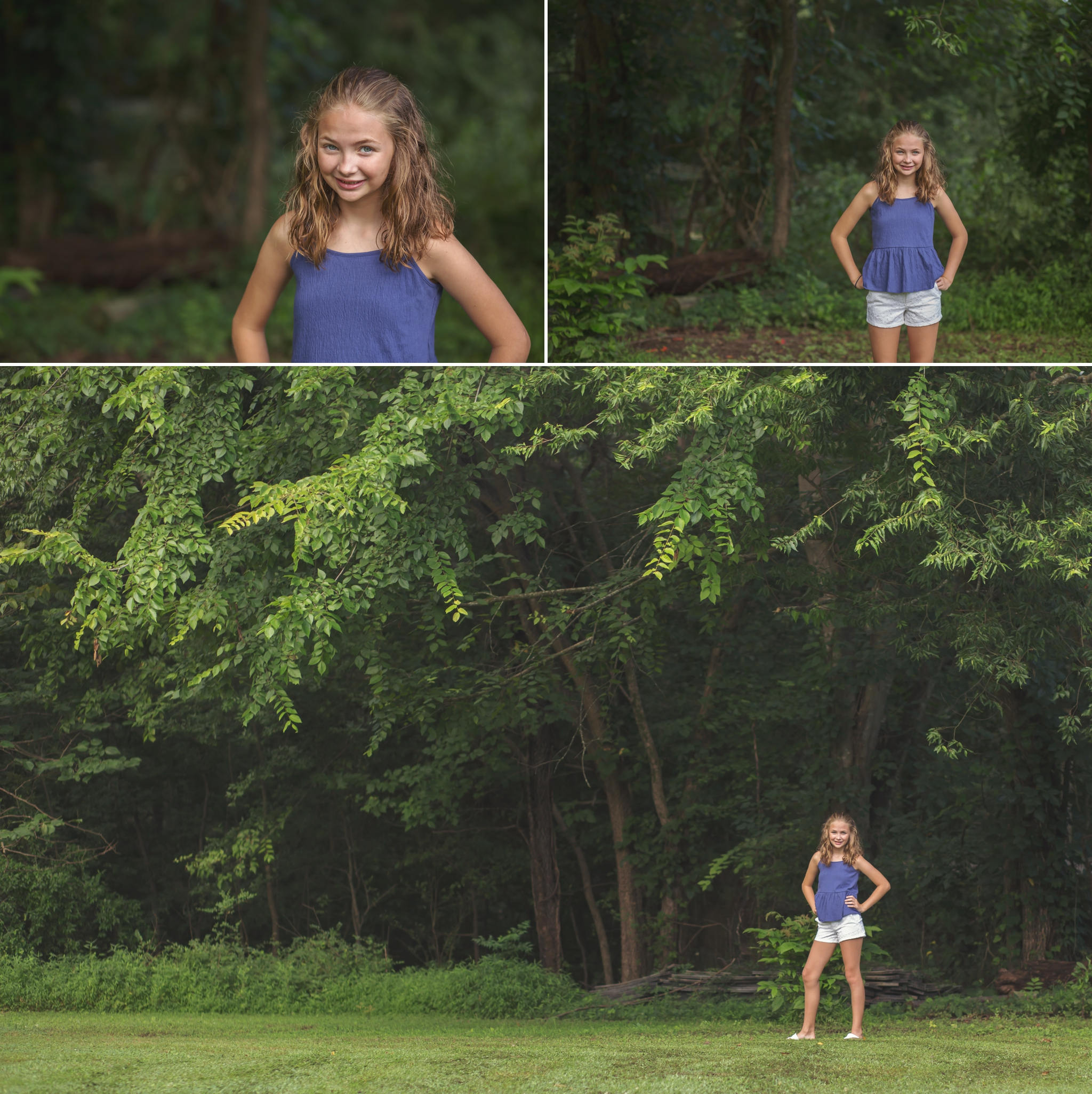 Child stands near trees in Sanford NC