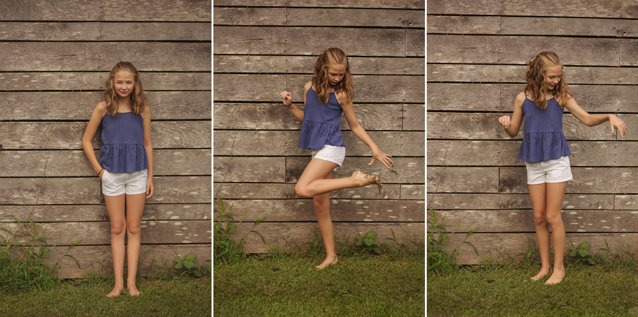 Girl poses in front of barn wood in Sanford NC.