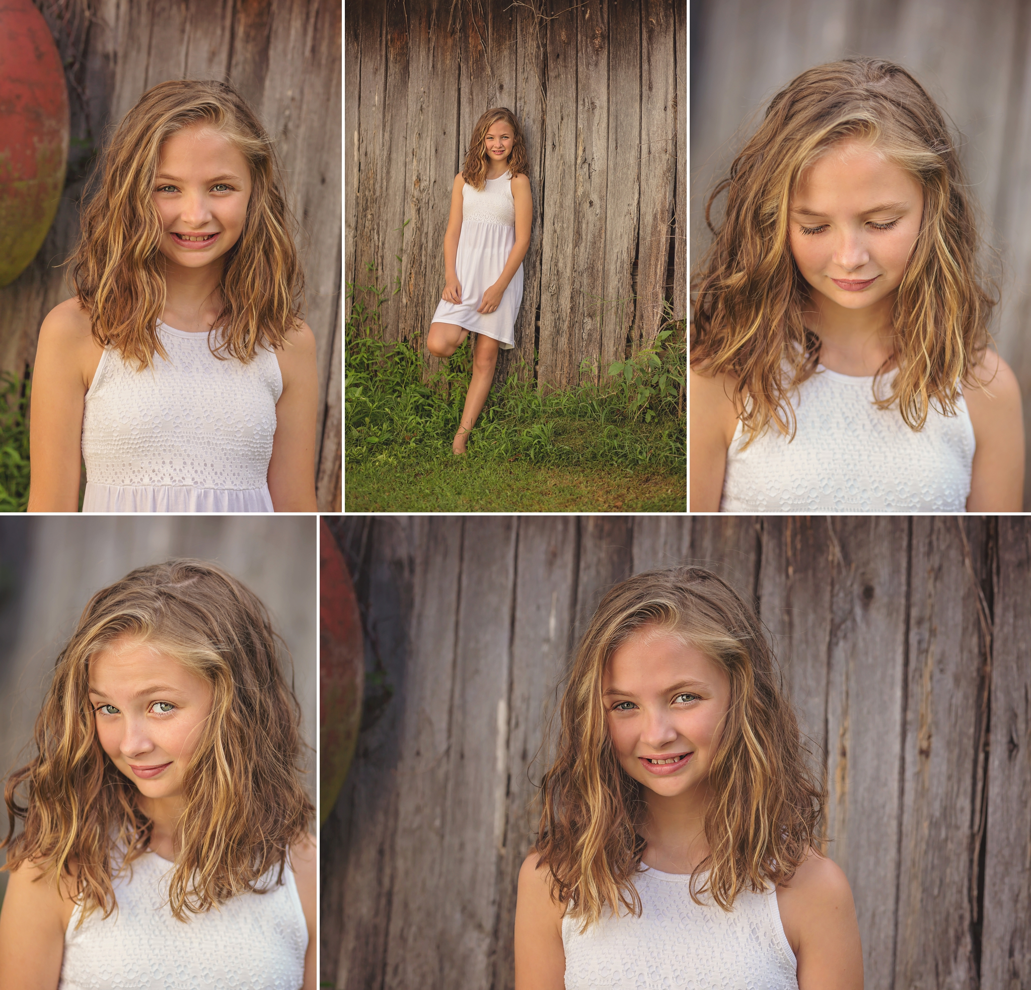 Child smiles in front of barnwood during Sanford area child photography session
