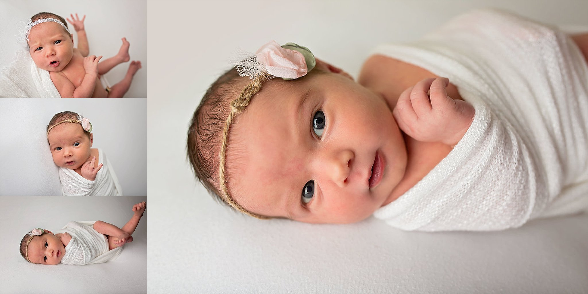 Newborn baby girl stretches for Raleigh, NC photographer.