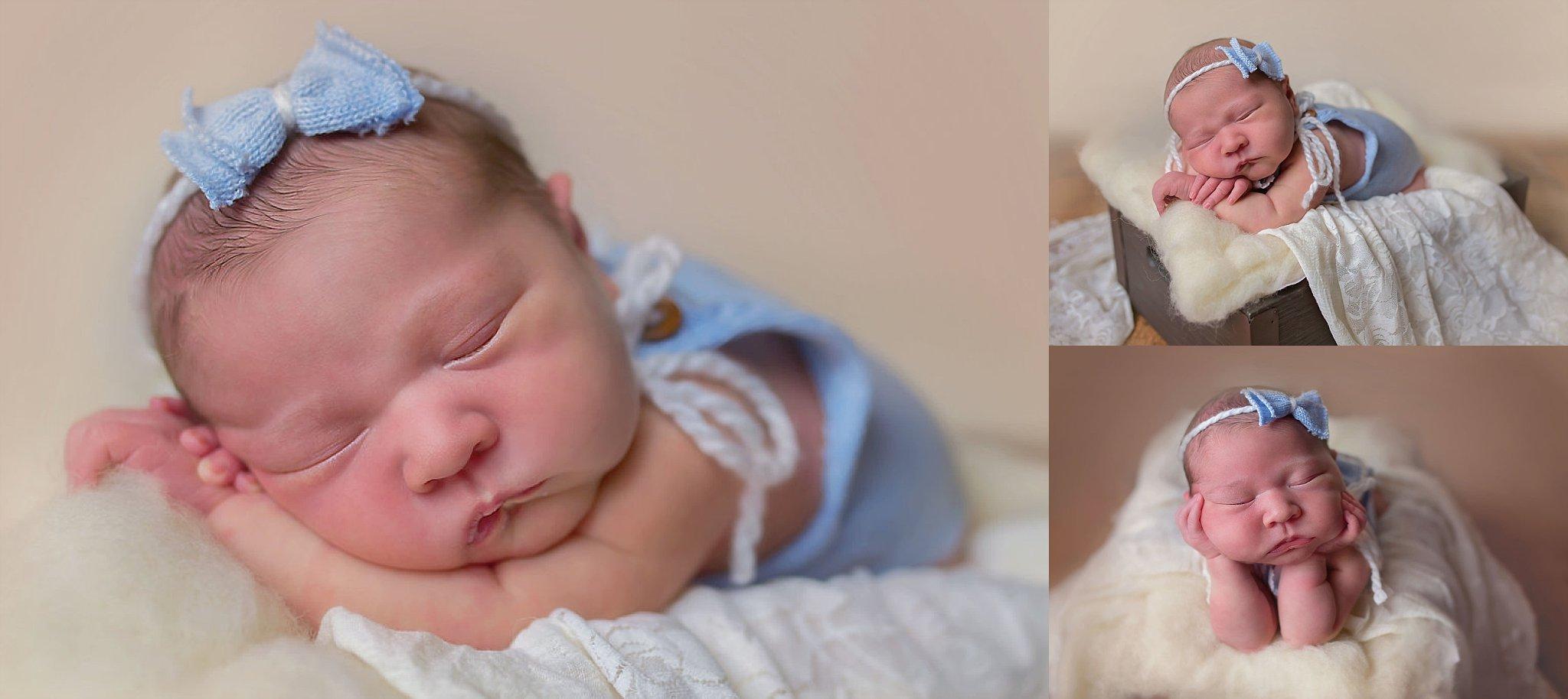 Beautiful newborn baby girl sleeps in basket for Durham NC photographer.