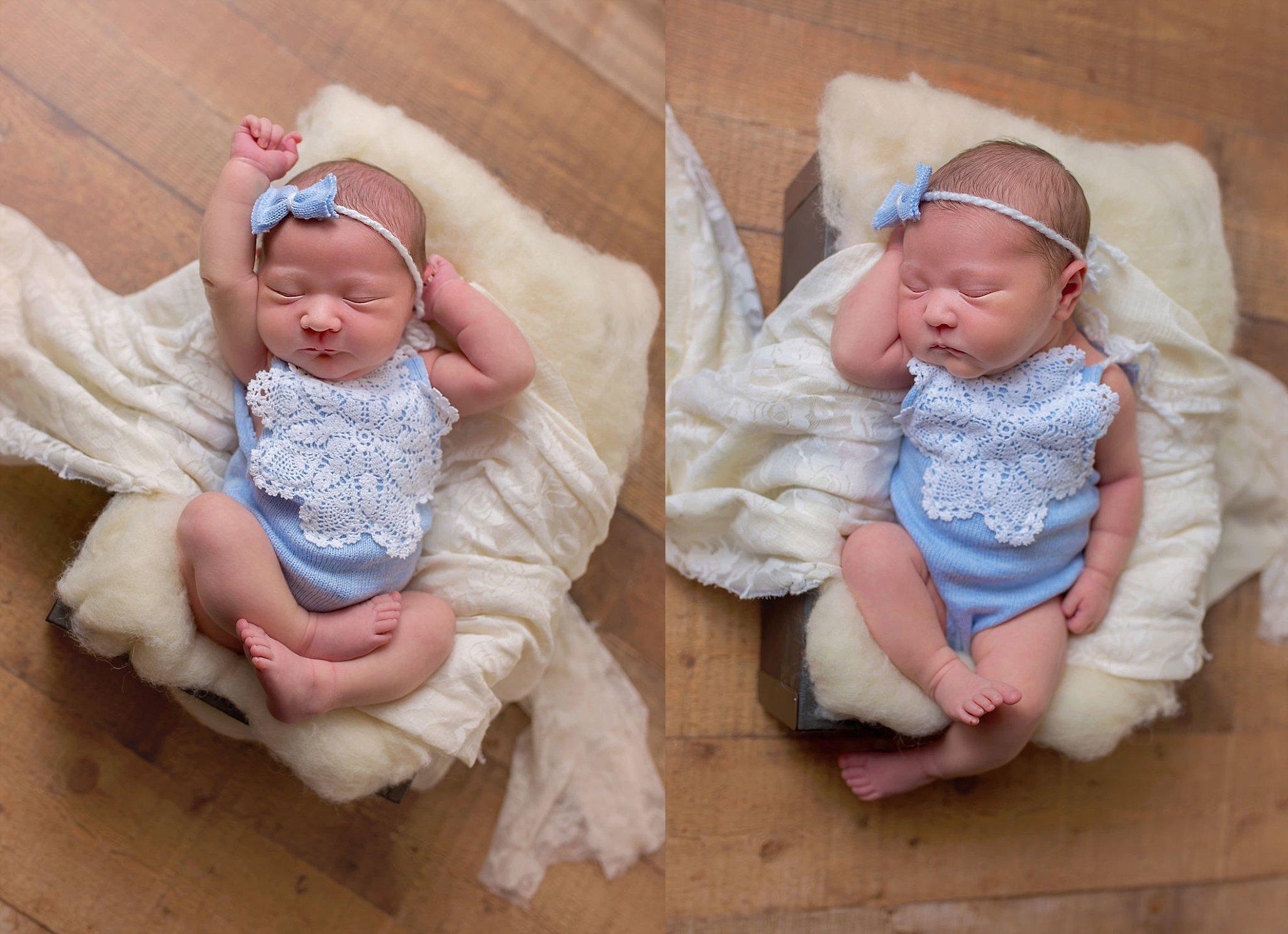 Durham NC newborn baby girl stretches in basket.