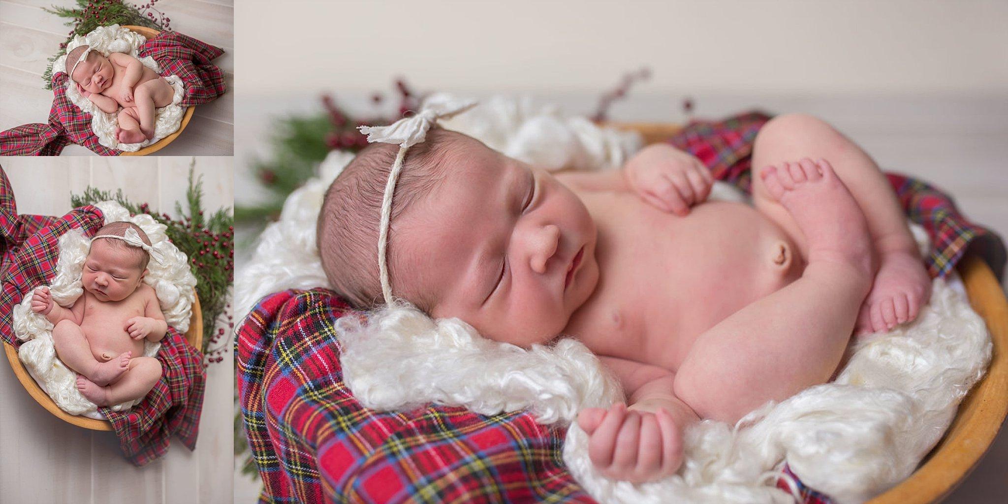Durham NC newborn photographer Candace Wolfenbarger photographs Christmas baby in bowl.