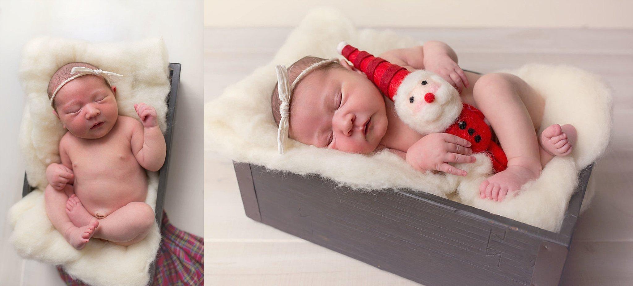 Durham NC newborn holds santa stuffie.