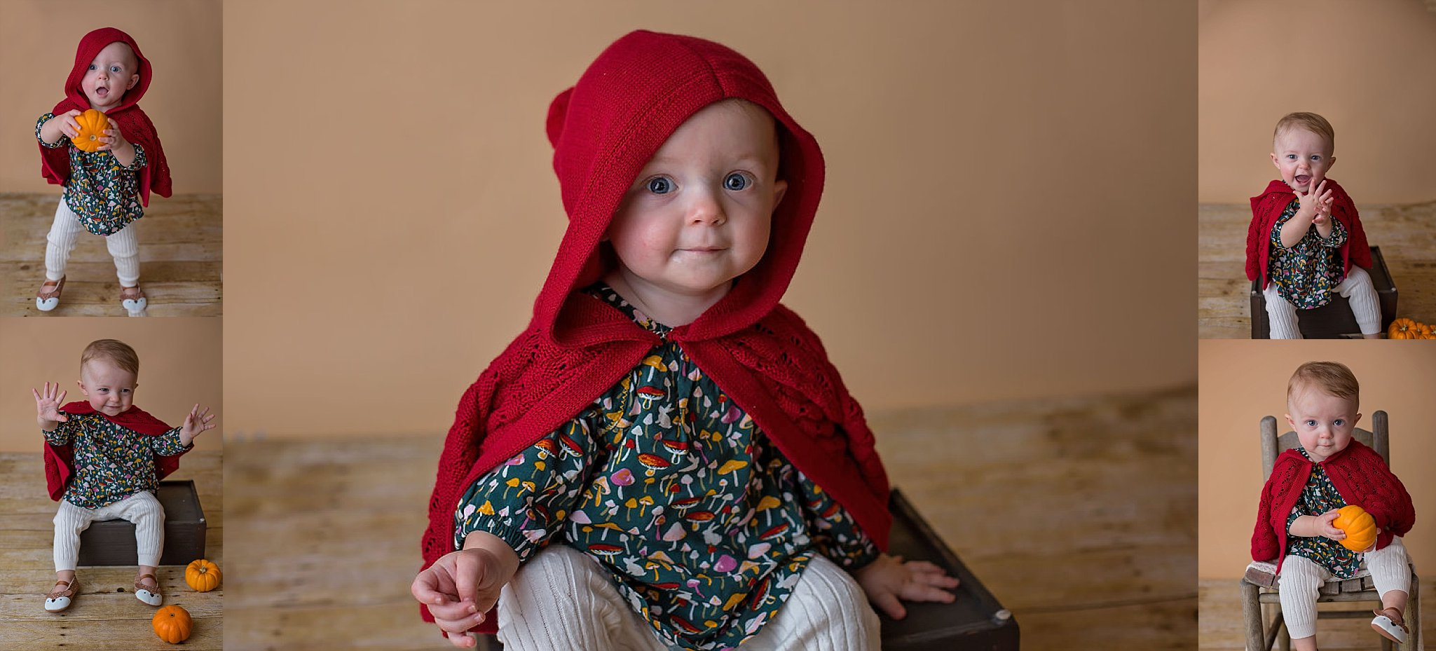 Pinehurst NC baby poses as Little Red Riding hood for themed one year studio session.